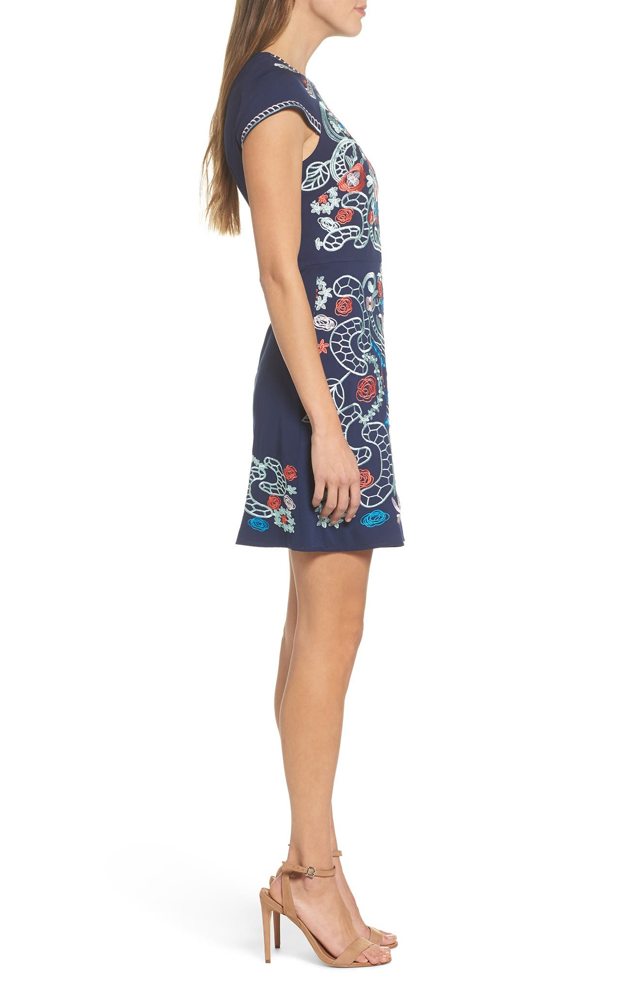 FOXIEDOX,                             Sierra Embroidered Dress,                             Alternate thumbnail 3, color,                             410