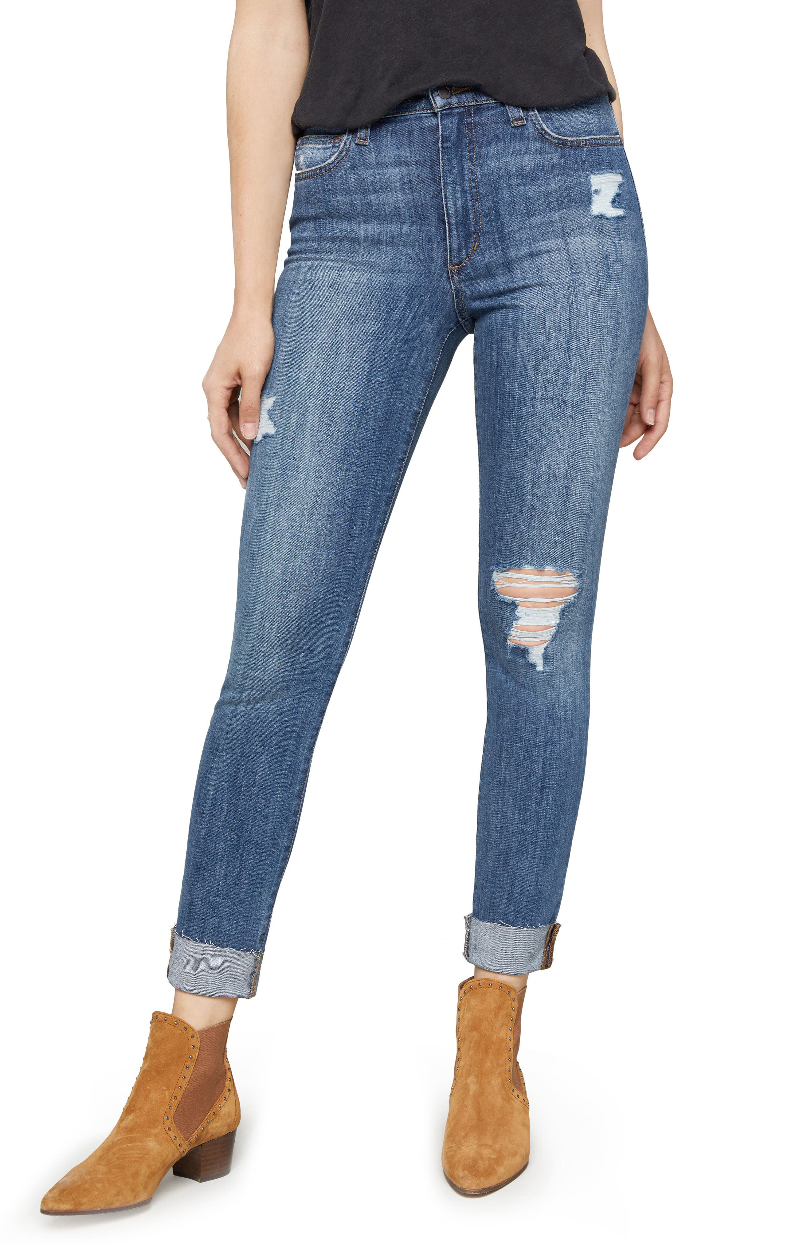 JOE'S Charlie Crop Ripped Skinny Jeans, Main, color, LEOR