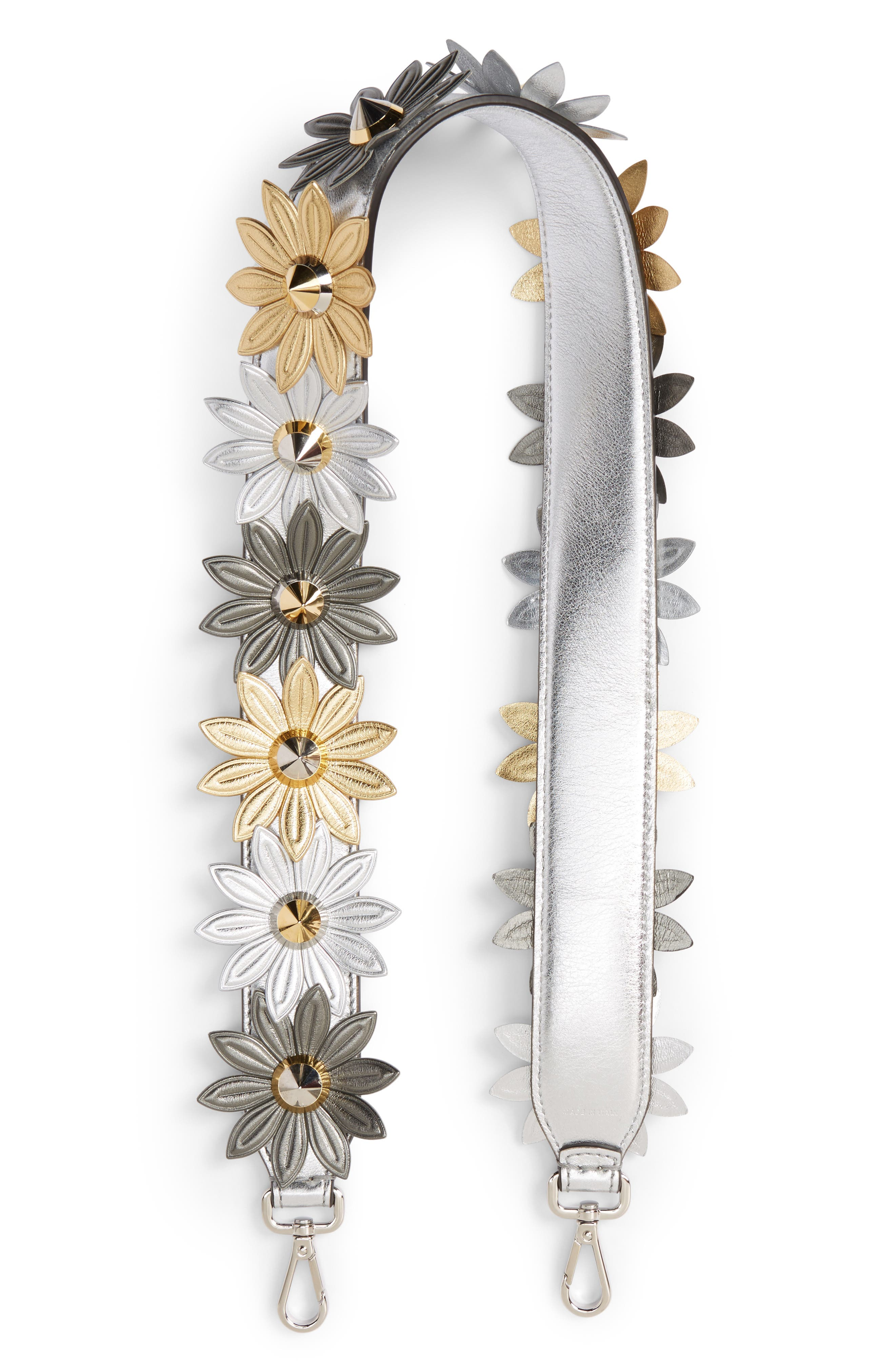 Strap You Metallic Daisy Leather Guitar Style Strap,                             Main thumbnail 1, color,                             100