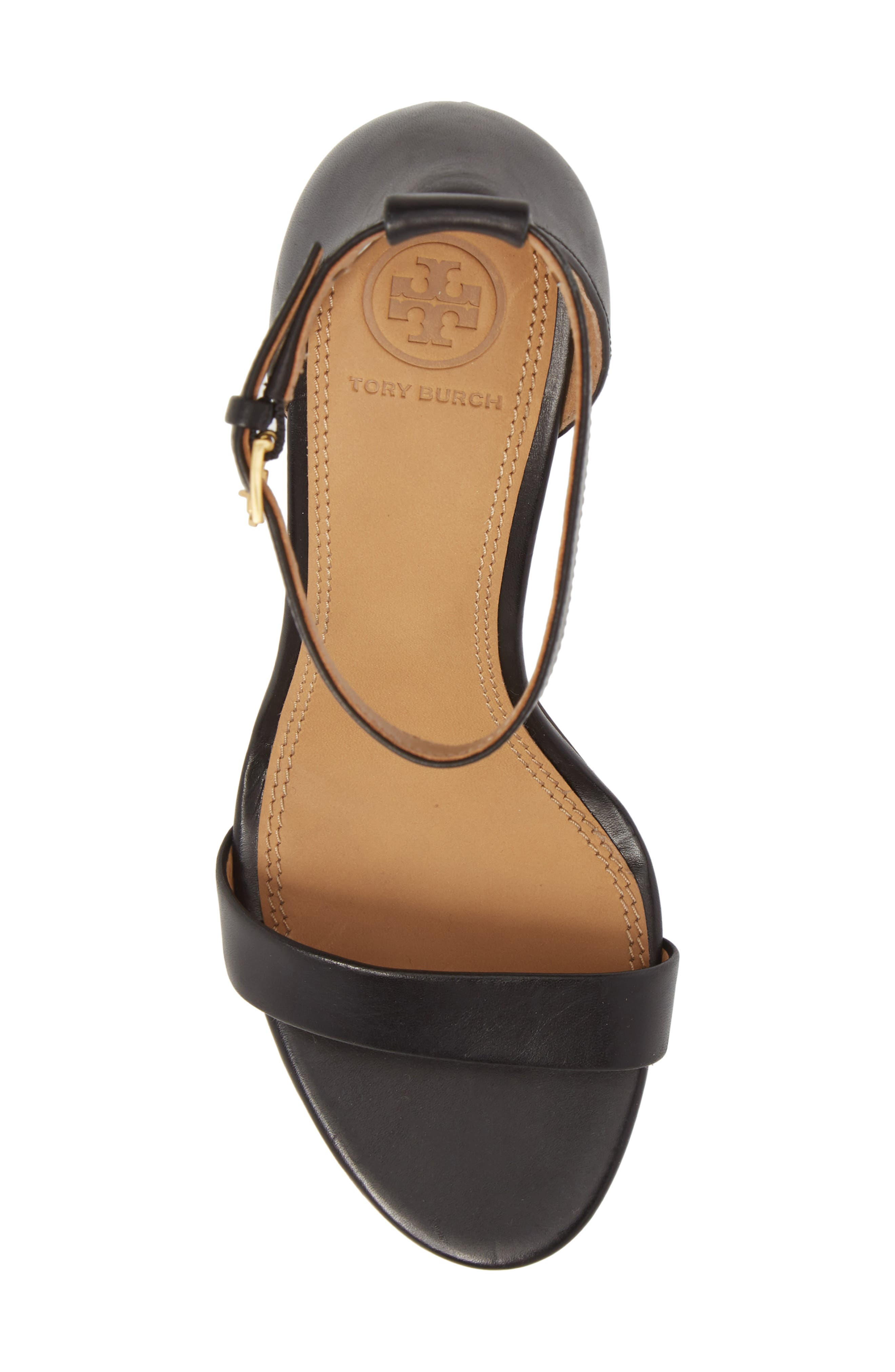 Ellie Ankle Strap Sandal,                             Alternate thumbnail 5, color,                             BLACK LEATHER