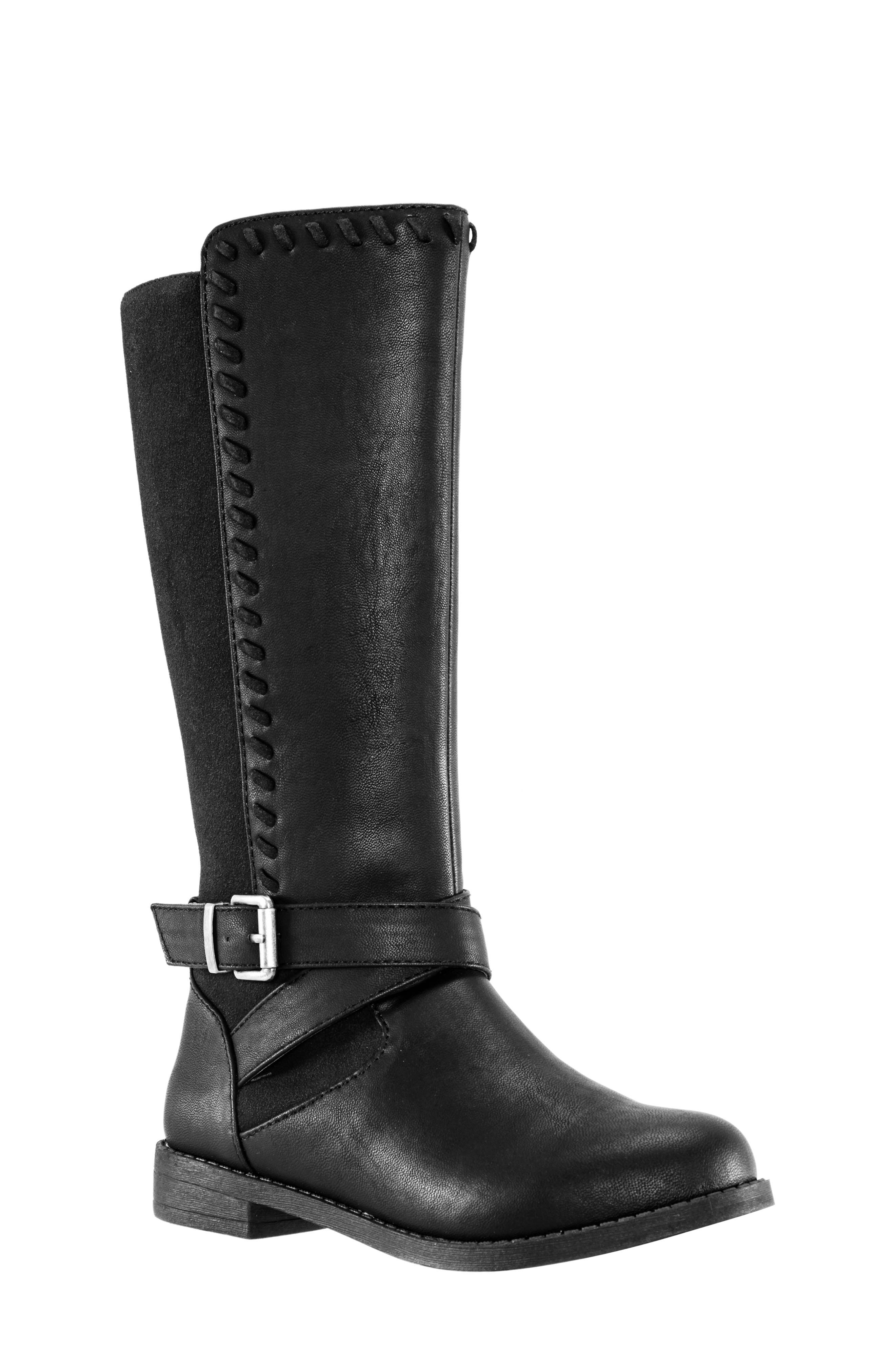 Jeanie Riding Boot,                         Main,                         color, BLACK TUMBLED