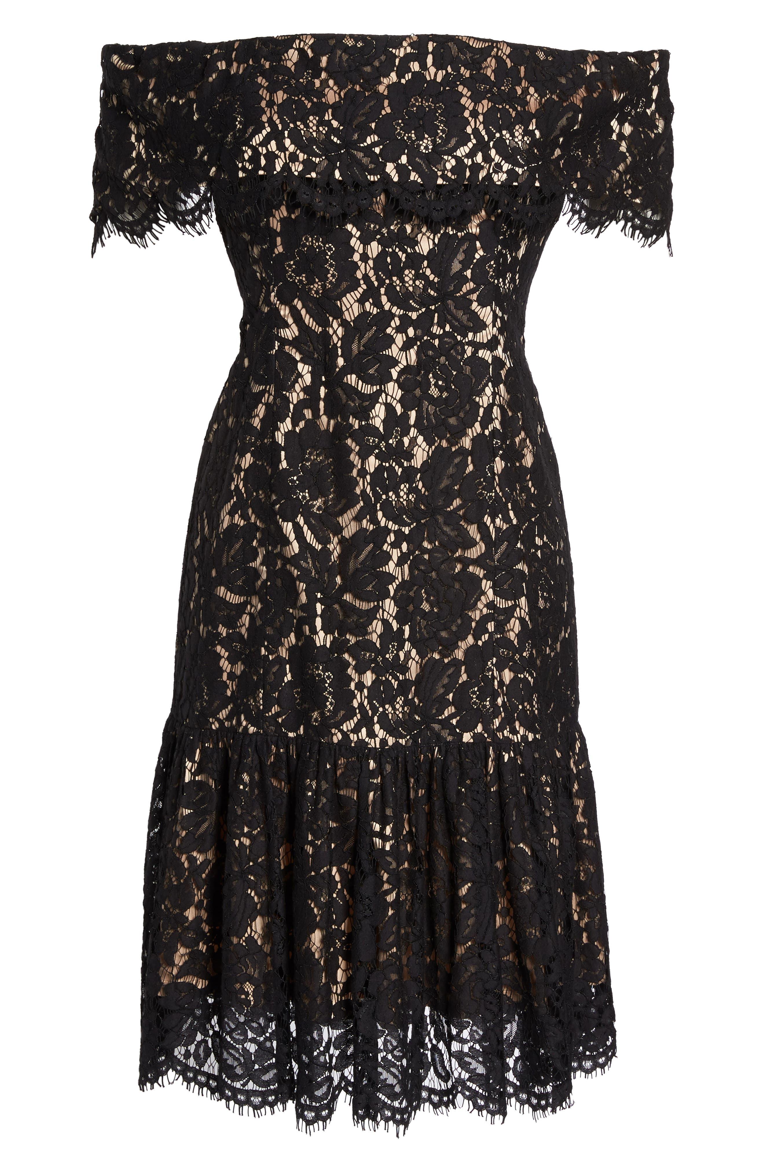 Lace Off the Shoulder Midi Dress,                             Alternate thumbnail 6, color,                             001