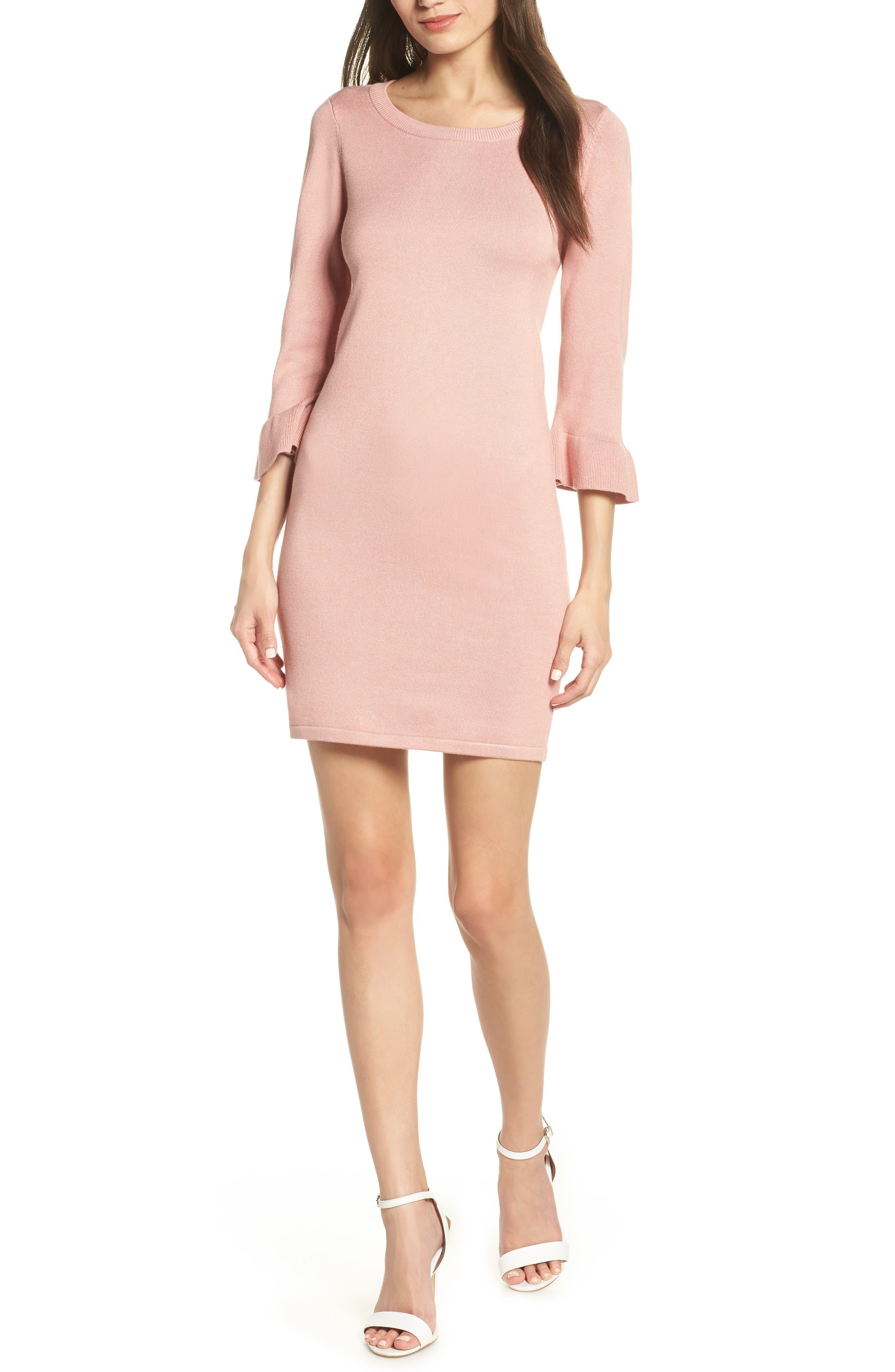 Bb Dakota Now Or Never Ruffle Sweater Dress, Pink