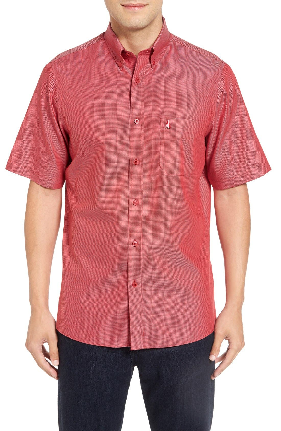 'Classic' Smartcare<sup>™</sup> Regular Fit Short Sleeve Cotton Sport Shirt,                             Main thumbnail 23, color,