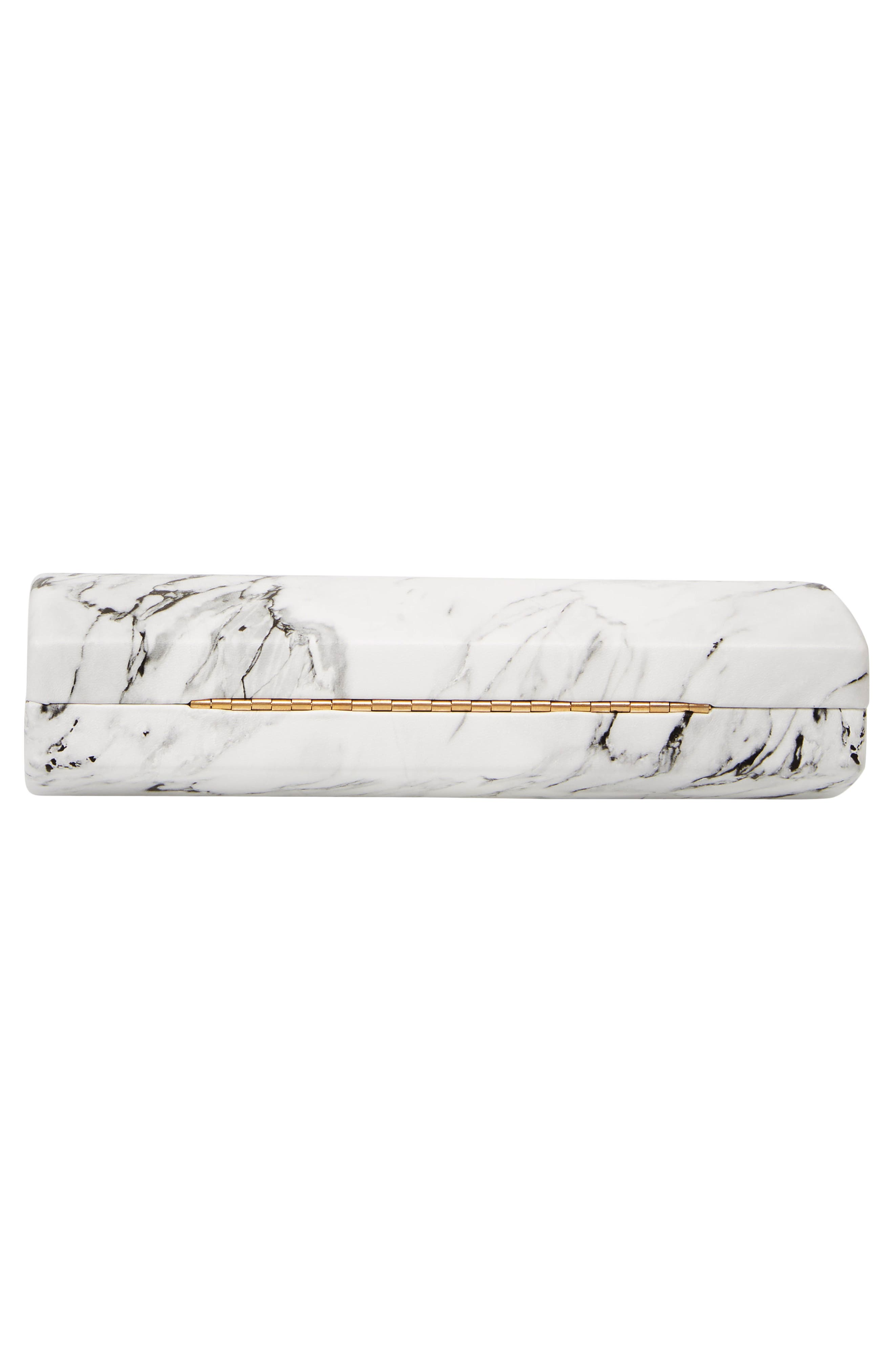 Marble Print Faux Leather Box Clutch,                             Alternate thumbnail 6, color,                             WHITE