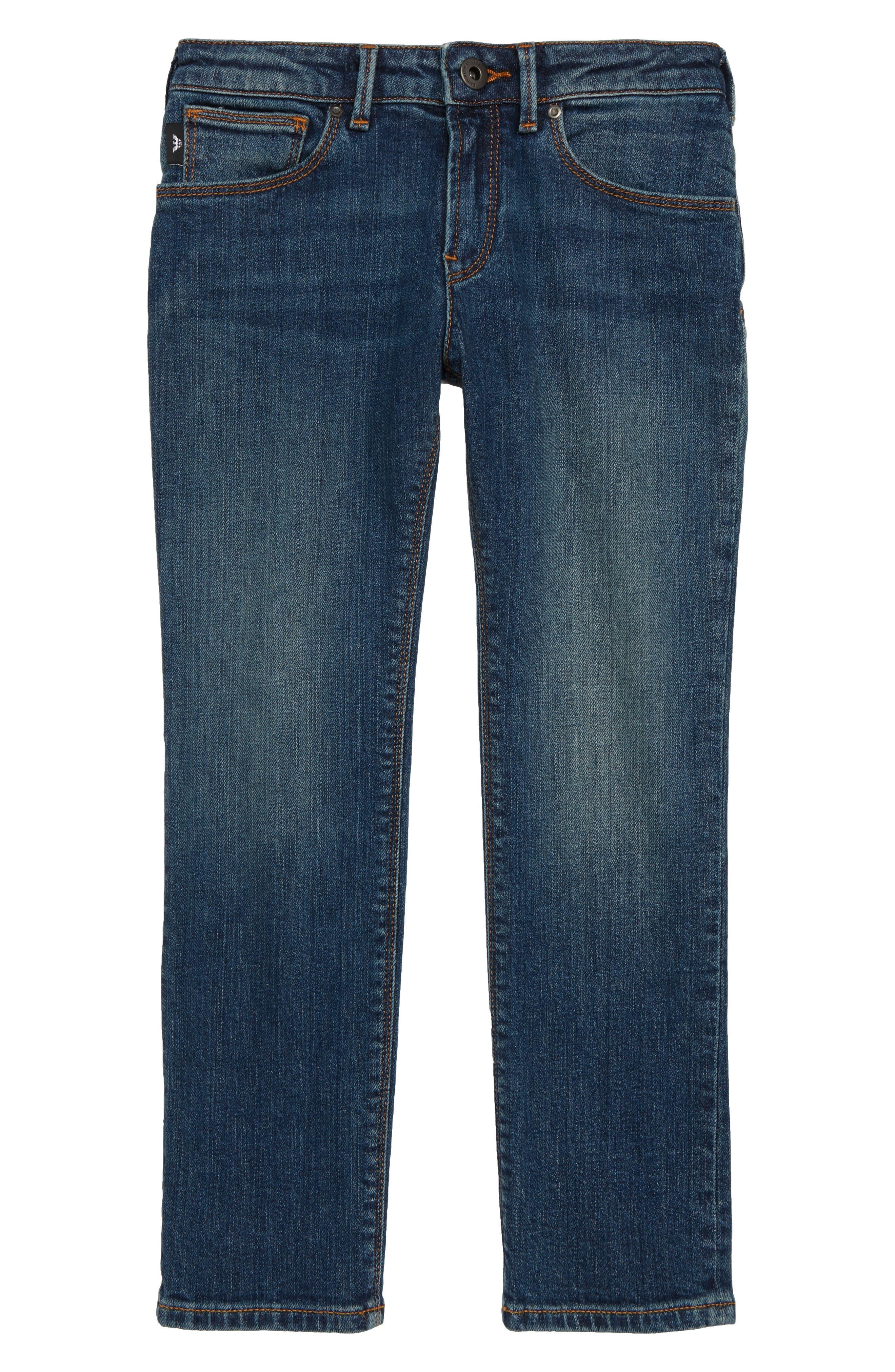 ARMANI JUNIOR,                             Denim Jeans,                             Main thumbnail 1, color,                             SOLID DARK BLUE