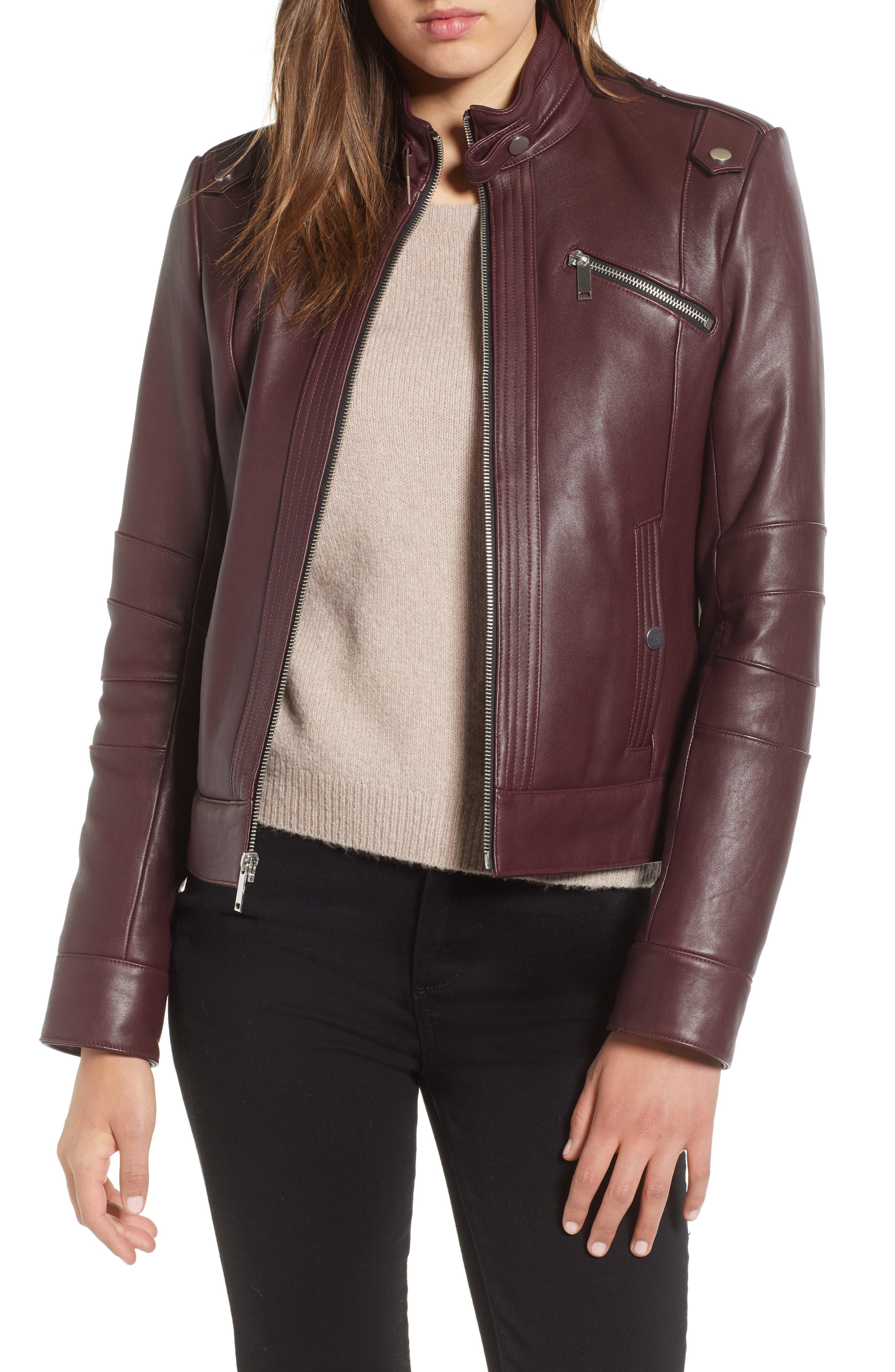 ANDREW MARC Rego Button Detail Leather Moto Jacket in Red