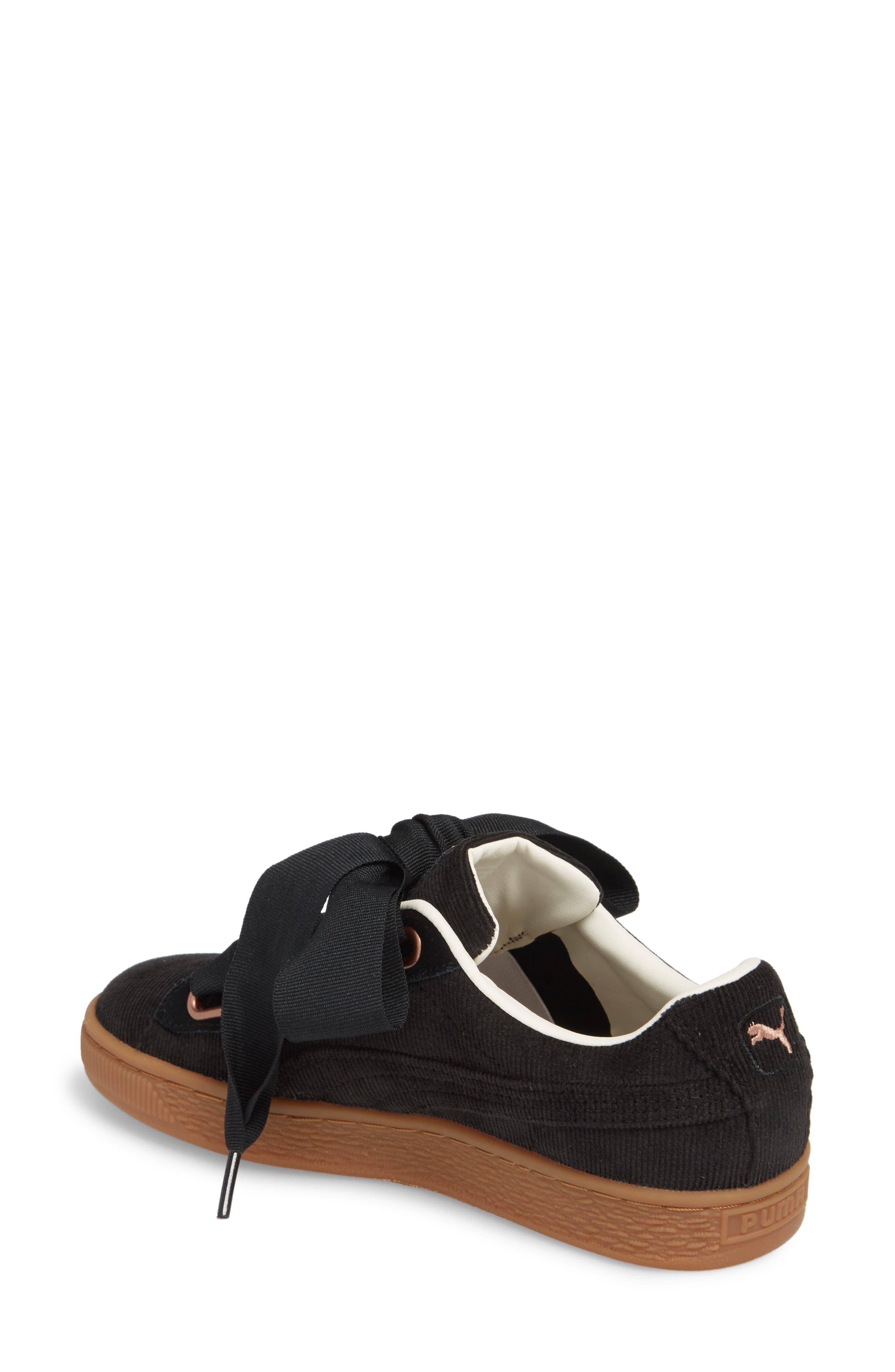 Basket Heart Sneaker,                             Alternate thumbnail 2, color,                             BLACK/ PUMA BLACK
