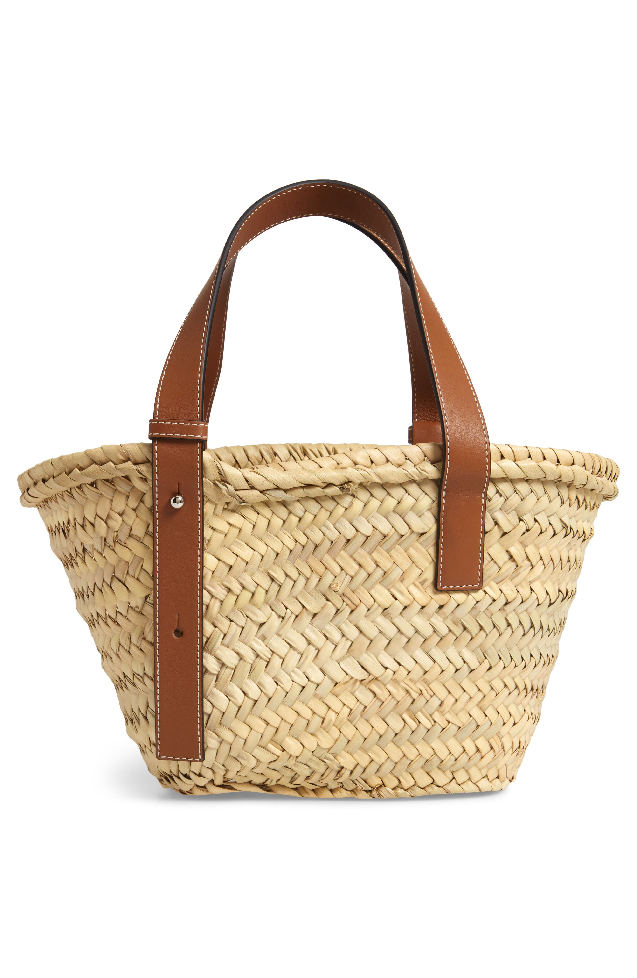 Small Logo Straw Tote,                             Alternate thumbnail 3, color,                             2435 NATURAL/ TAN