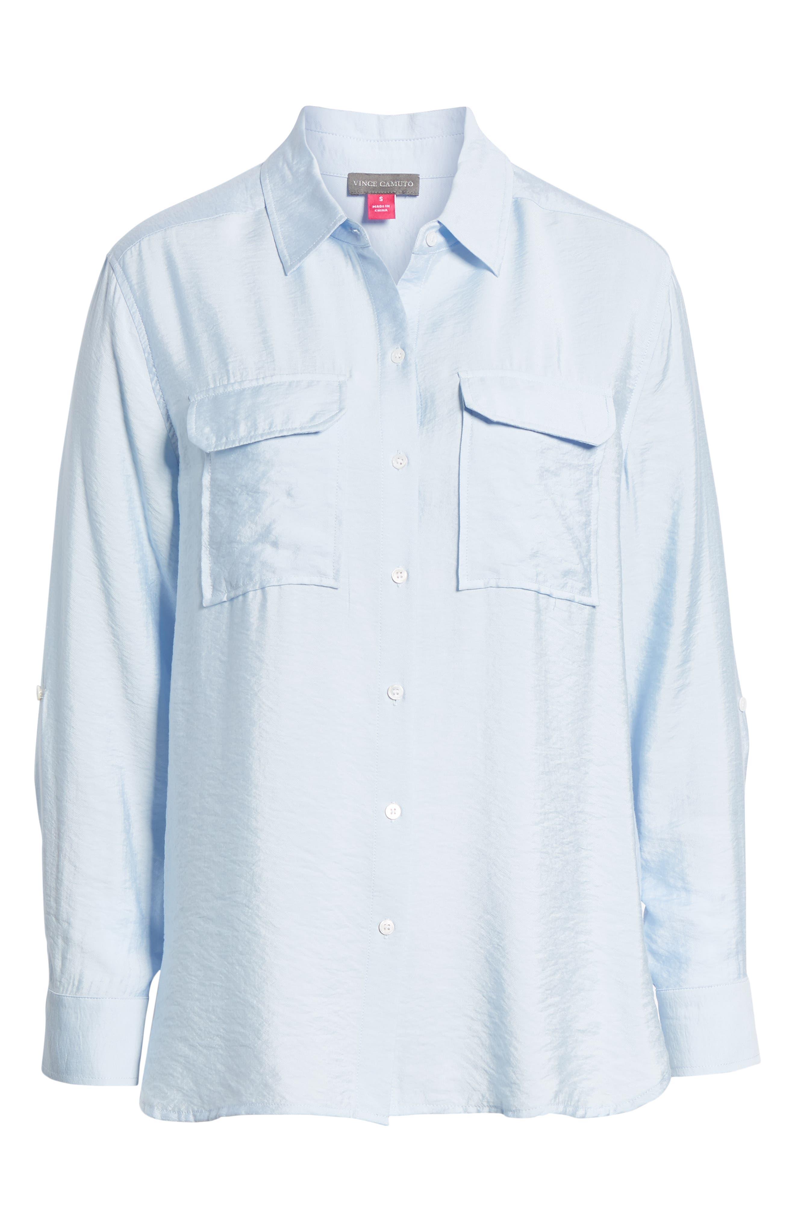 Hammered Satin Utility Shirt,                             Alternate thumbnail 6, color,                             436