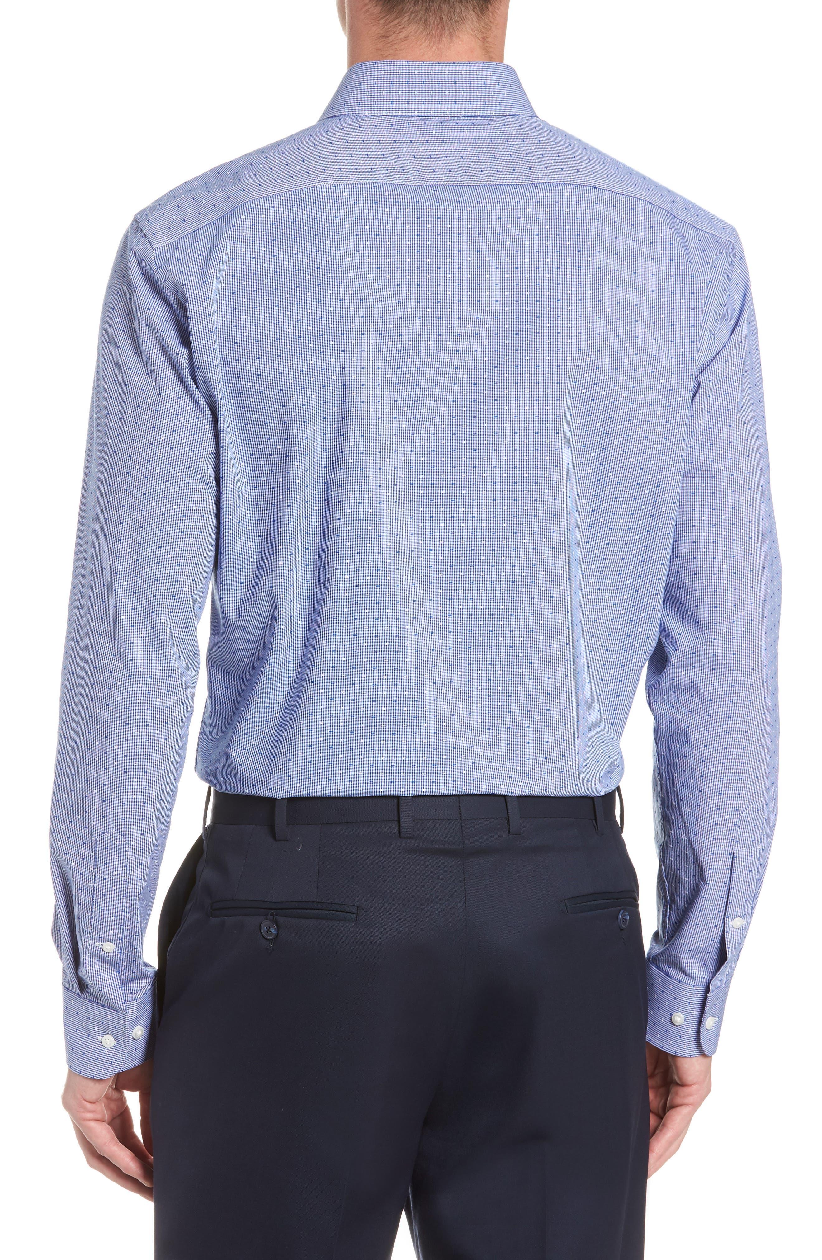 Tech-Smart Trim Fit Check Dress Shirt,                             Alternate thumbnail 3, color,