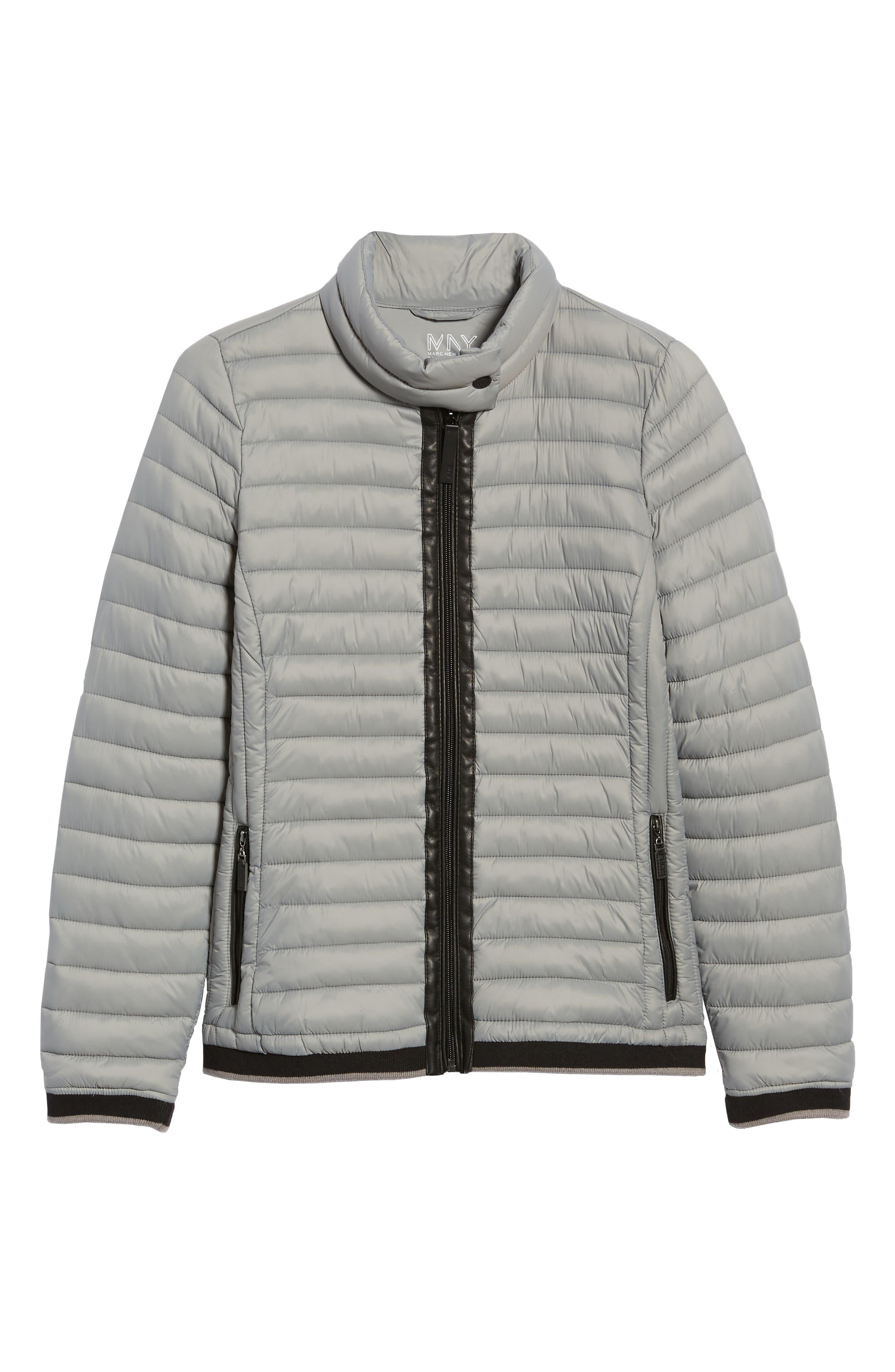 Stripe Trim Packable Down Jacket,                             Alternate thumbnail 6, color,                             STERLING