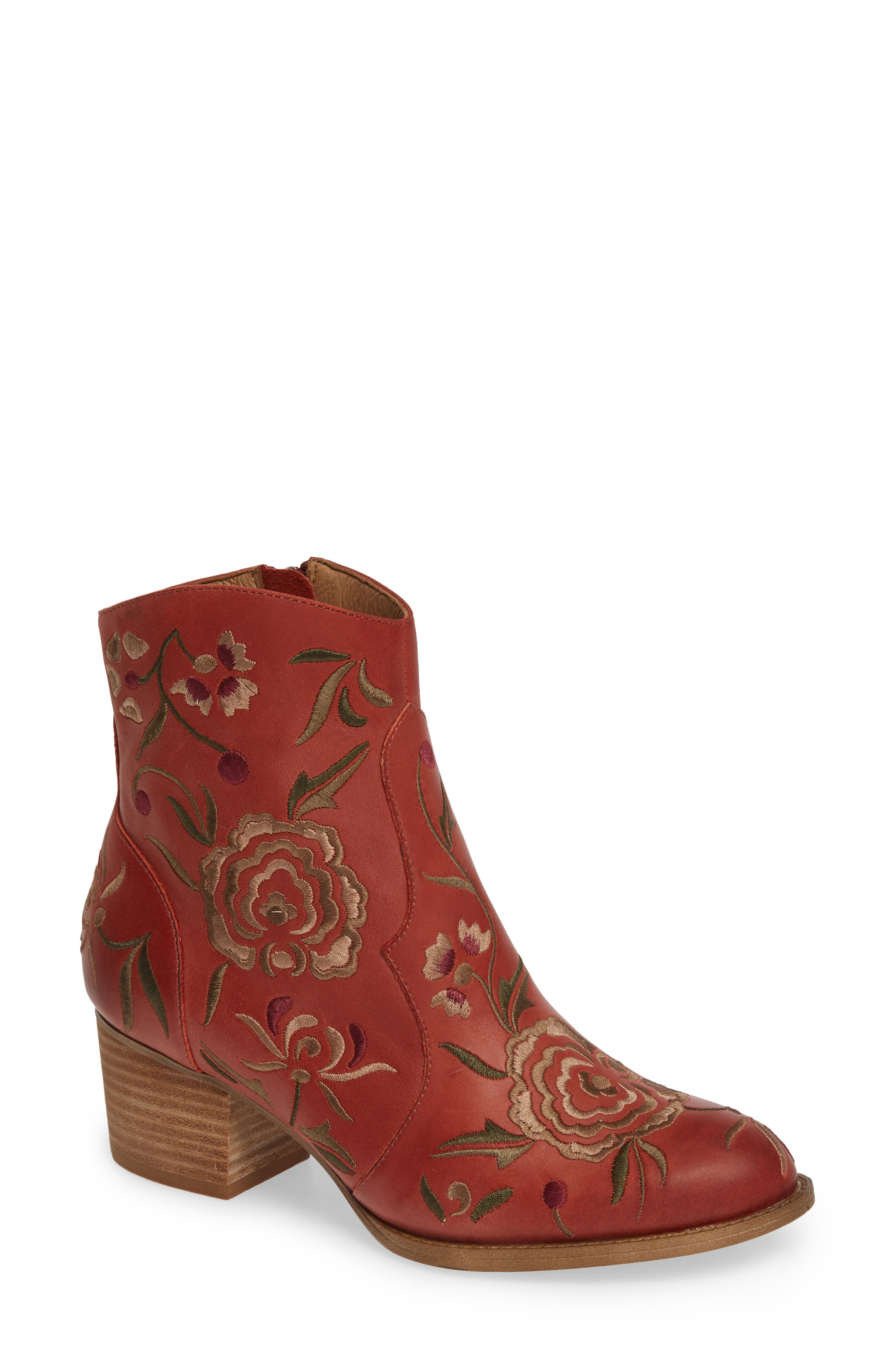 Sofft Westmont Floral Embroidered Bootie- Red