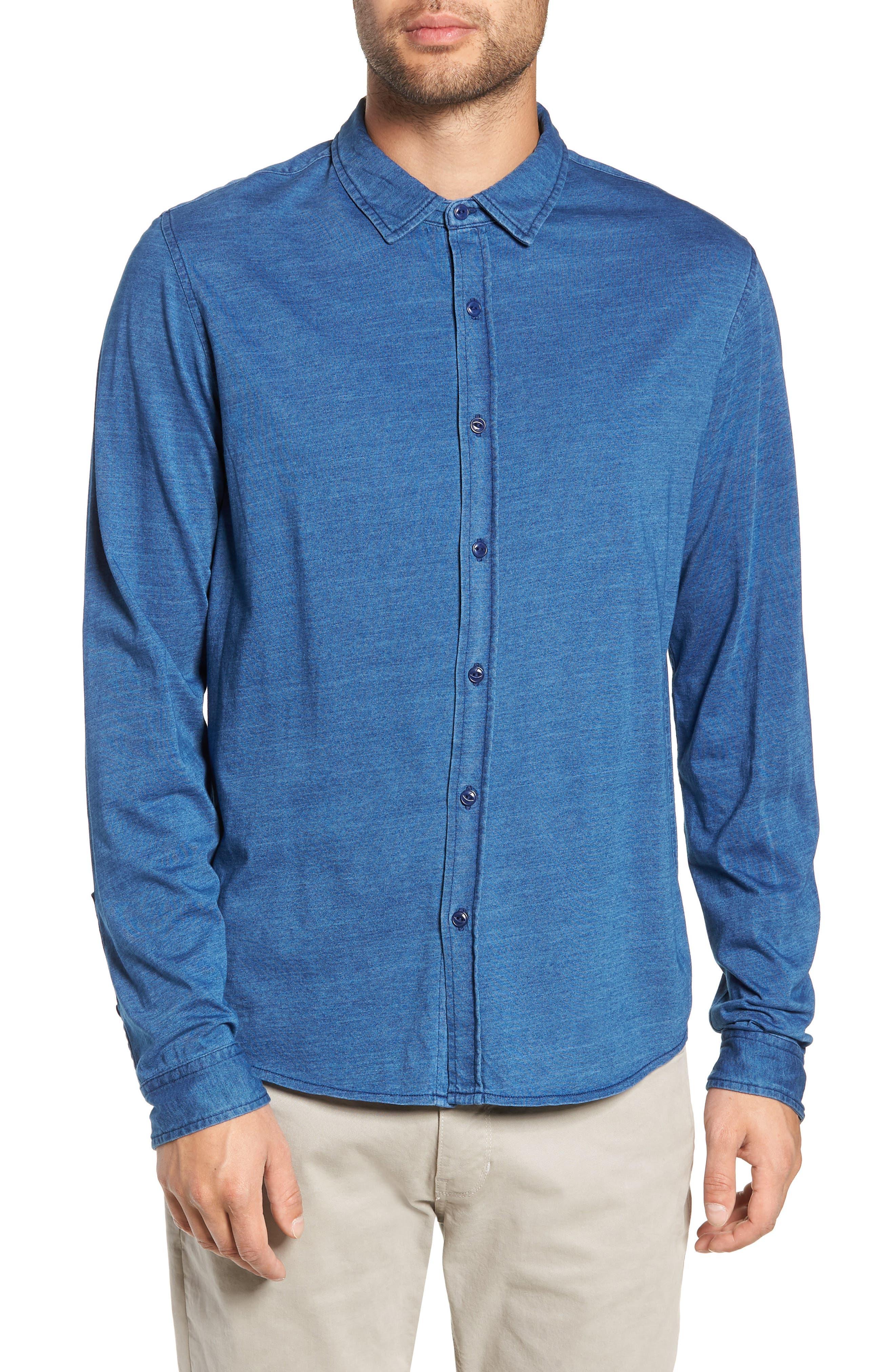Knit Sport Shirt,                         Main,                         color, MEDIUM INDIGO