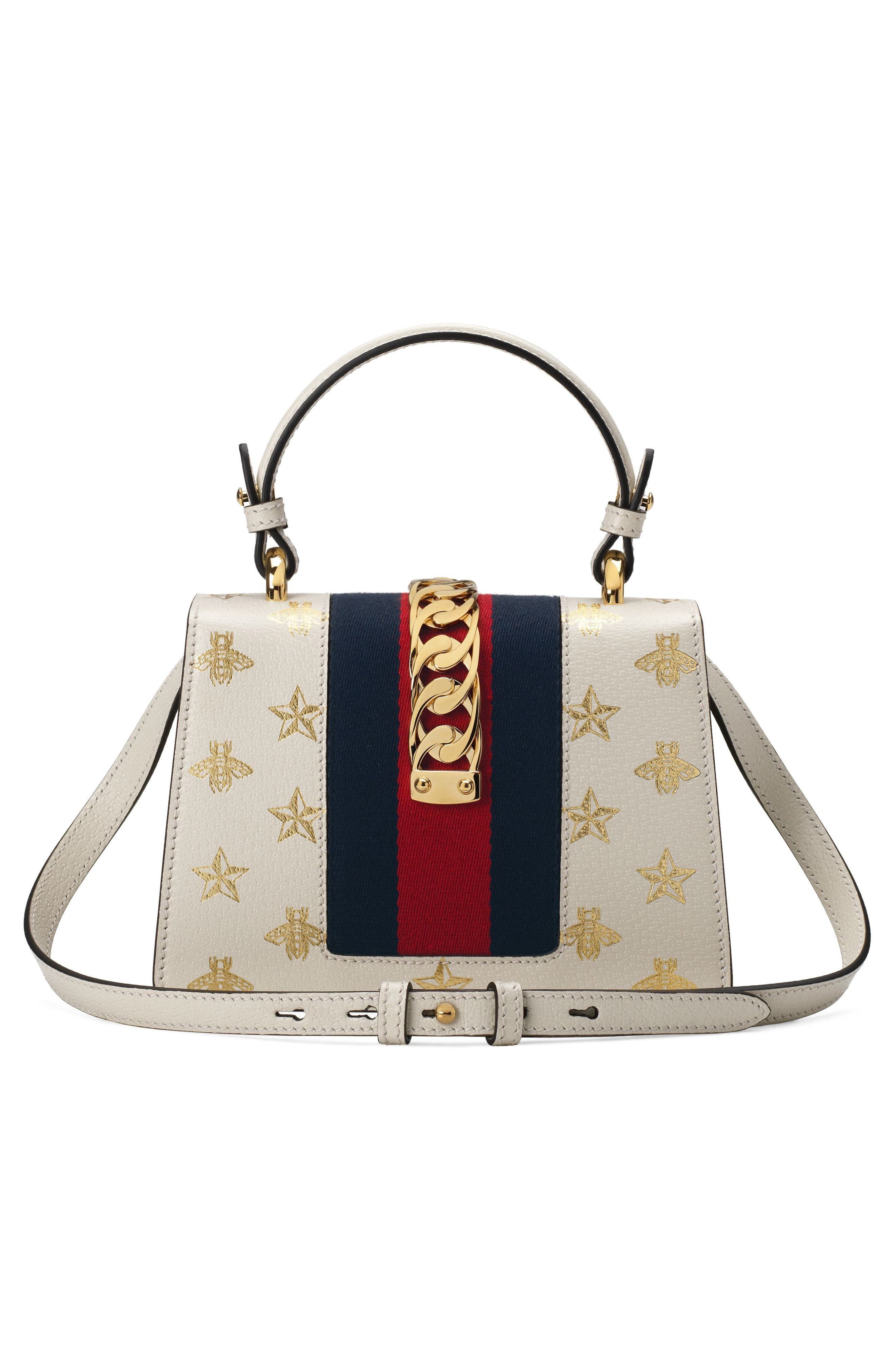 Small Sylvie Top Handle Leather Shoulder Bag,                             Alternate thumbnail 2, color,                             MYSTIC WHITE/ ORO/ BLUE/ RED