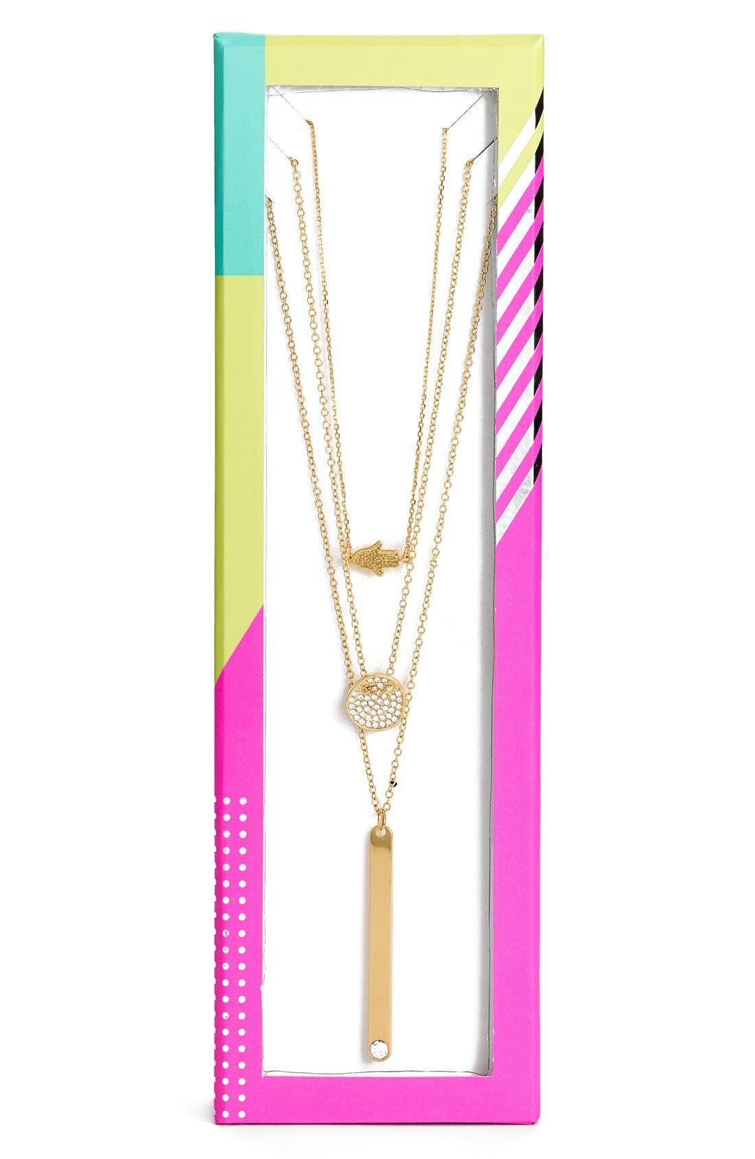 'Modern Metallics' 14k-Gold Plate Layered Necklace,                             Alternate thumbnail 2, color,