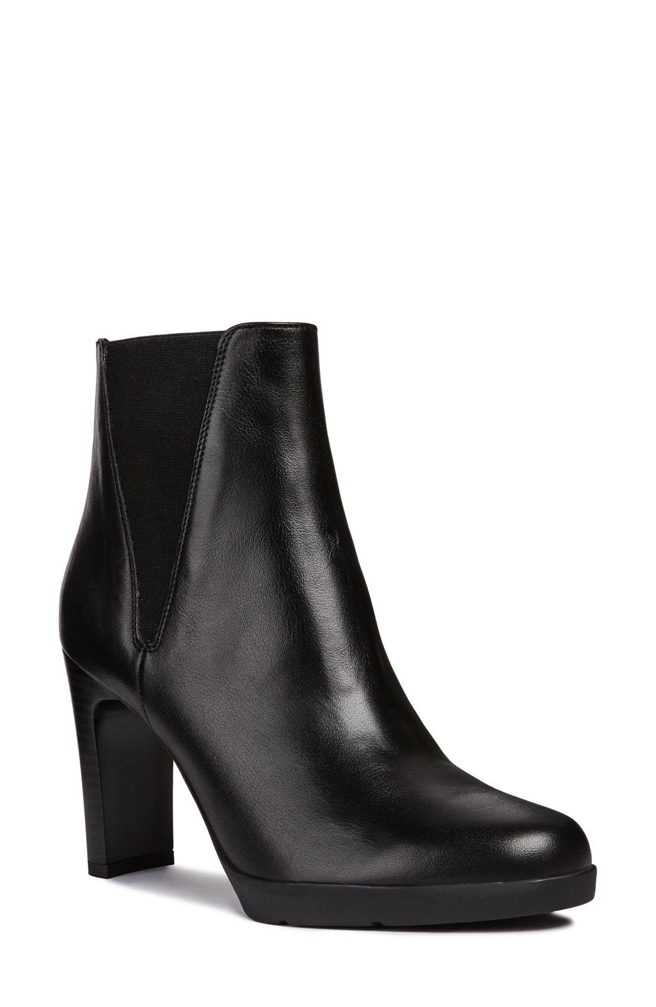 Annya Bootie,                             Main thumbnail 1, color,                             BLACK LEATHER