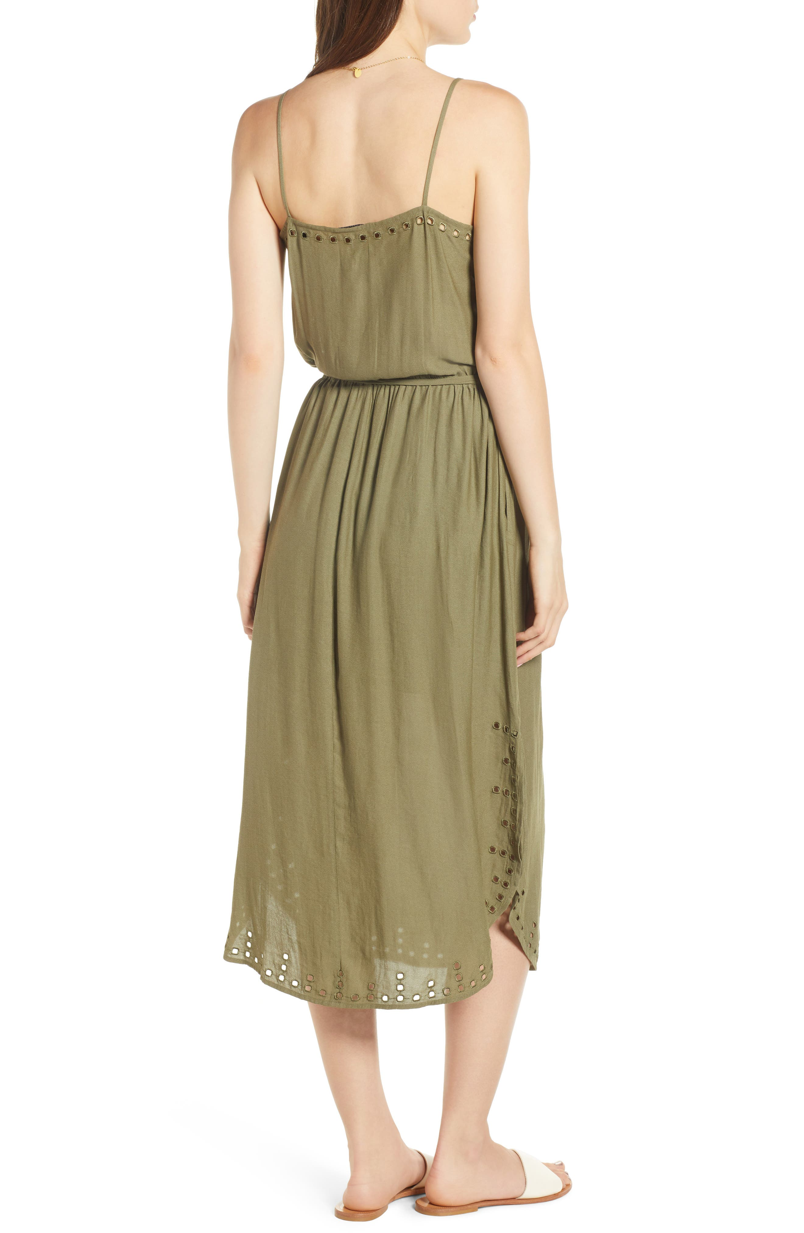 Strappy Cutout Midi Dress,                             Alternate thumbnail 2, color,                             ARMY