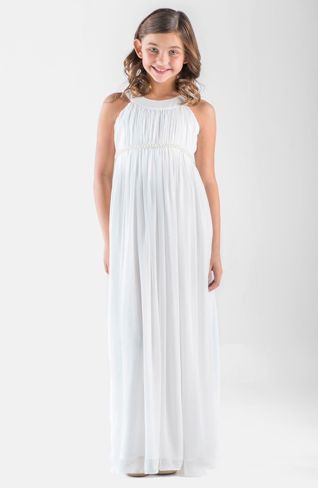 Sleeveless Chiffon Dress,                         Main,                         color, IVORY
