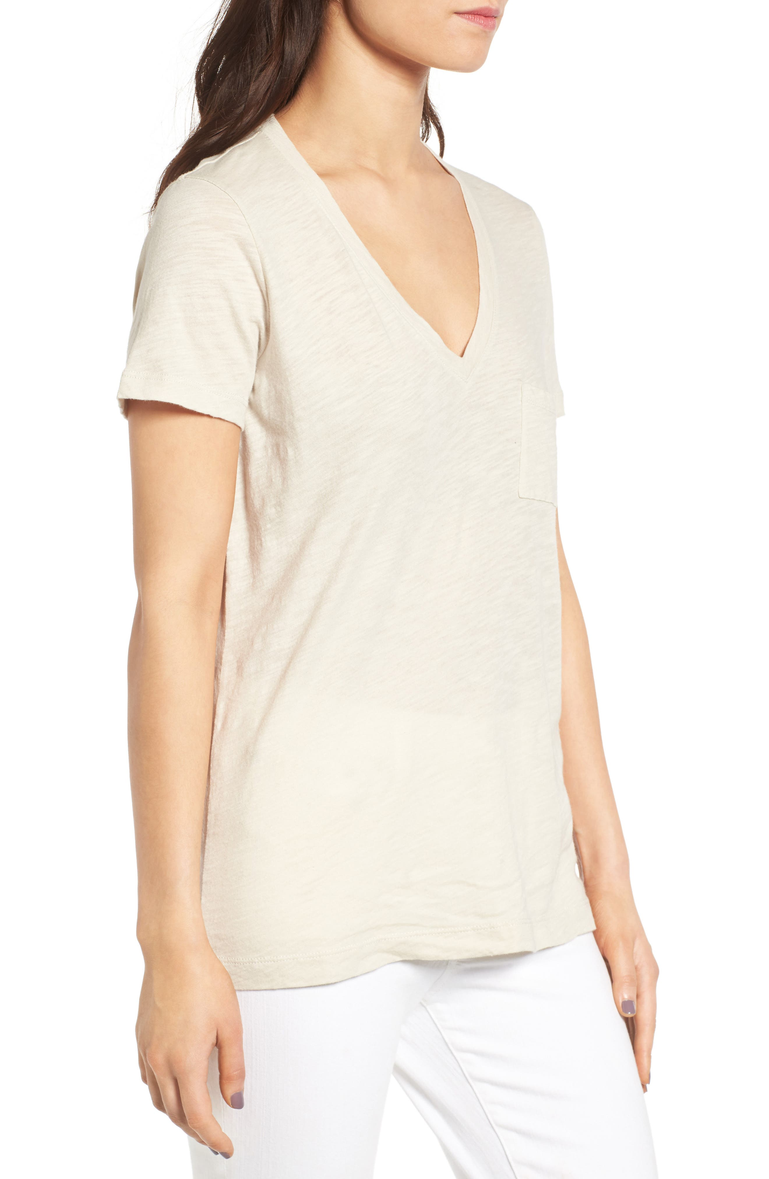 Whisper Cotton V-Neck Pocket Tee,                             Alternate thumbnail 96, color,