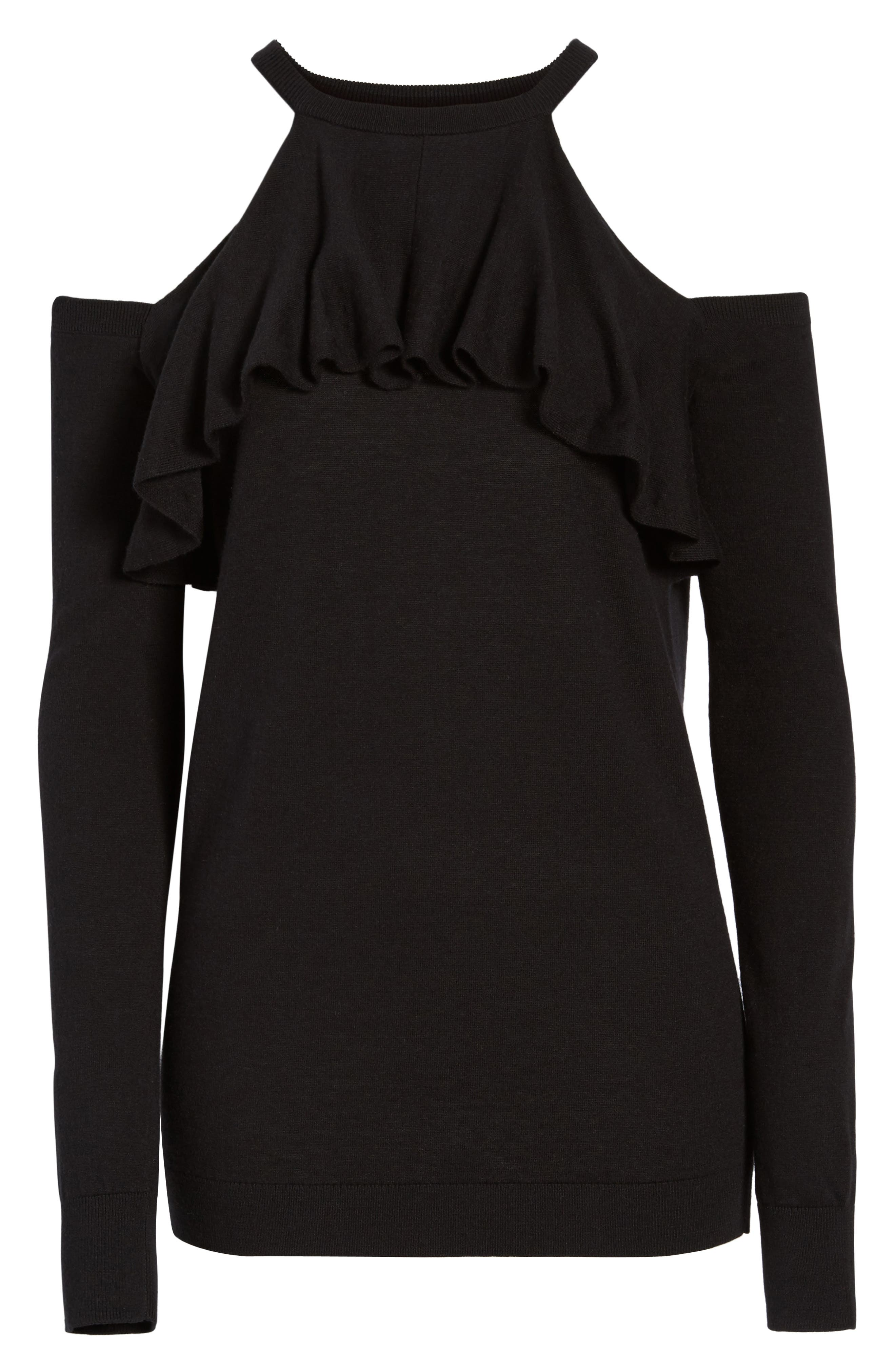 Cold Shoulder Sweater,                             Alternate thumbnail 6, color,                             001