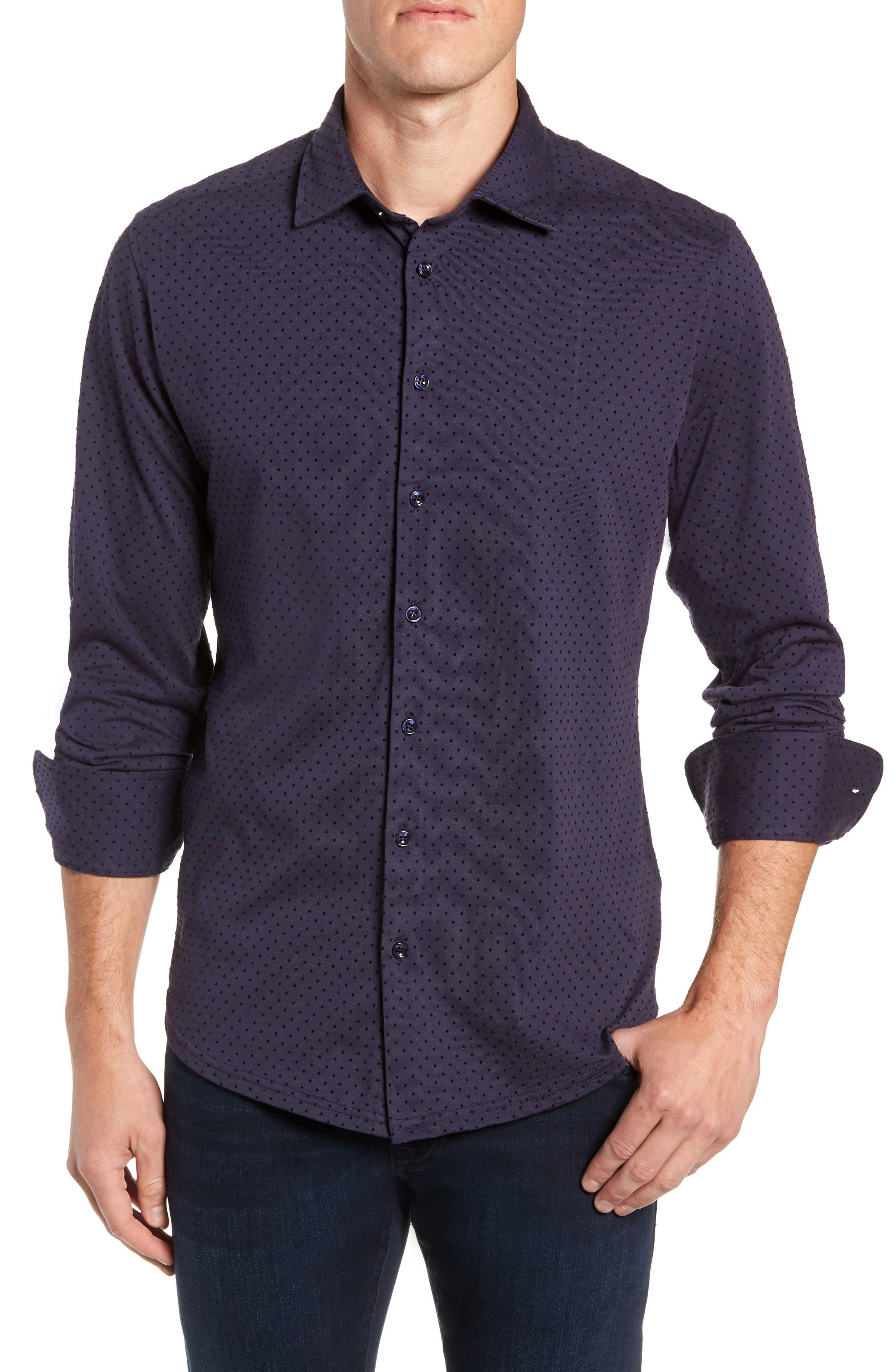 STONE ROSE Regular Fit Knit Sport Shirt, Main, color, NAVY