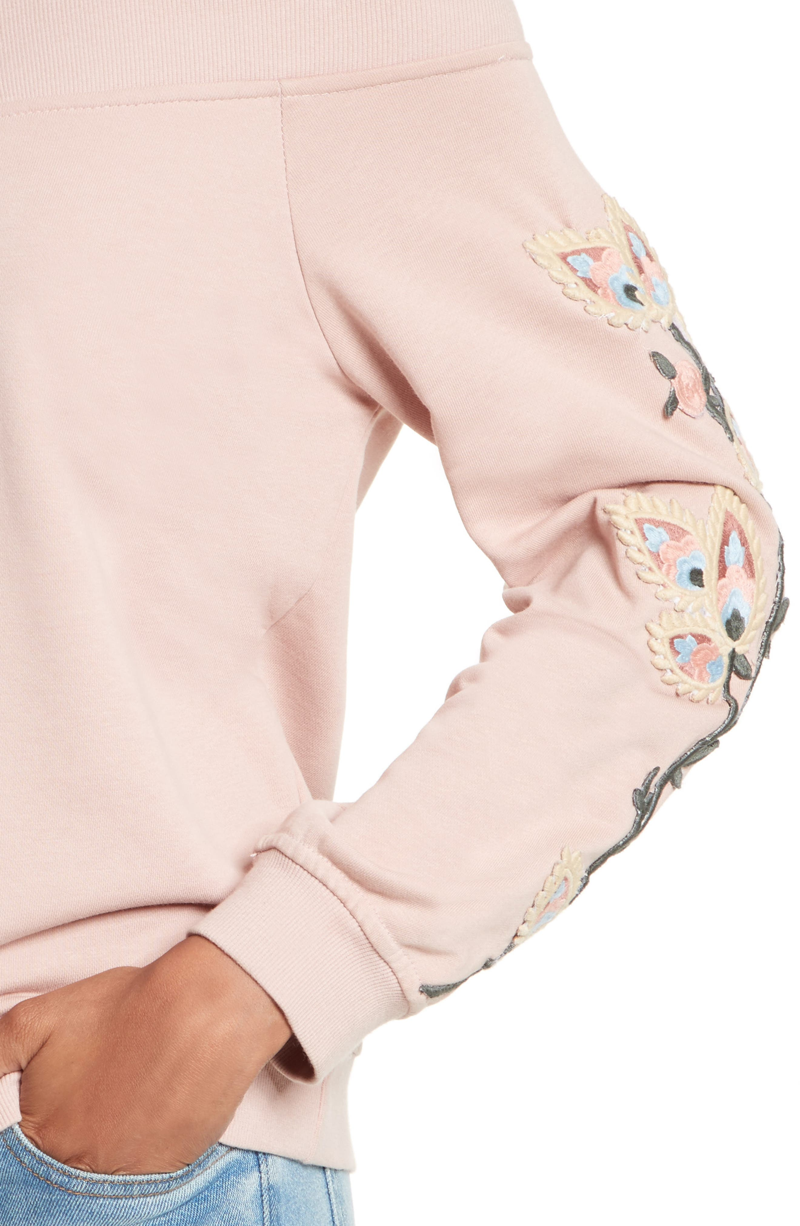 Macey Embroidered Sweatshirt,                             Alternate thumbnail 4, color,                             665