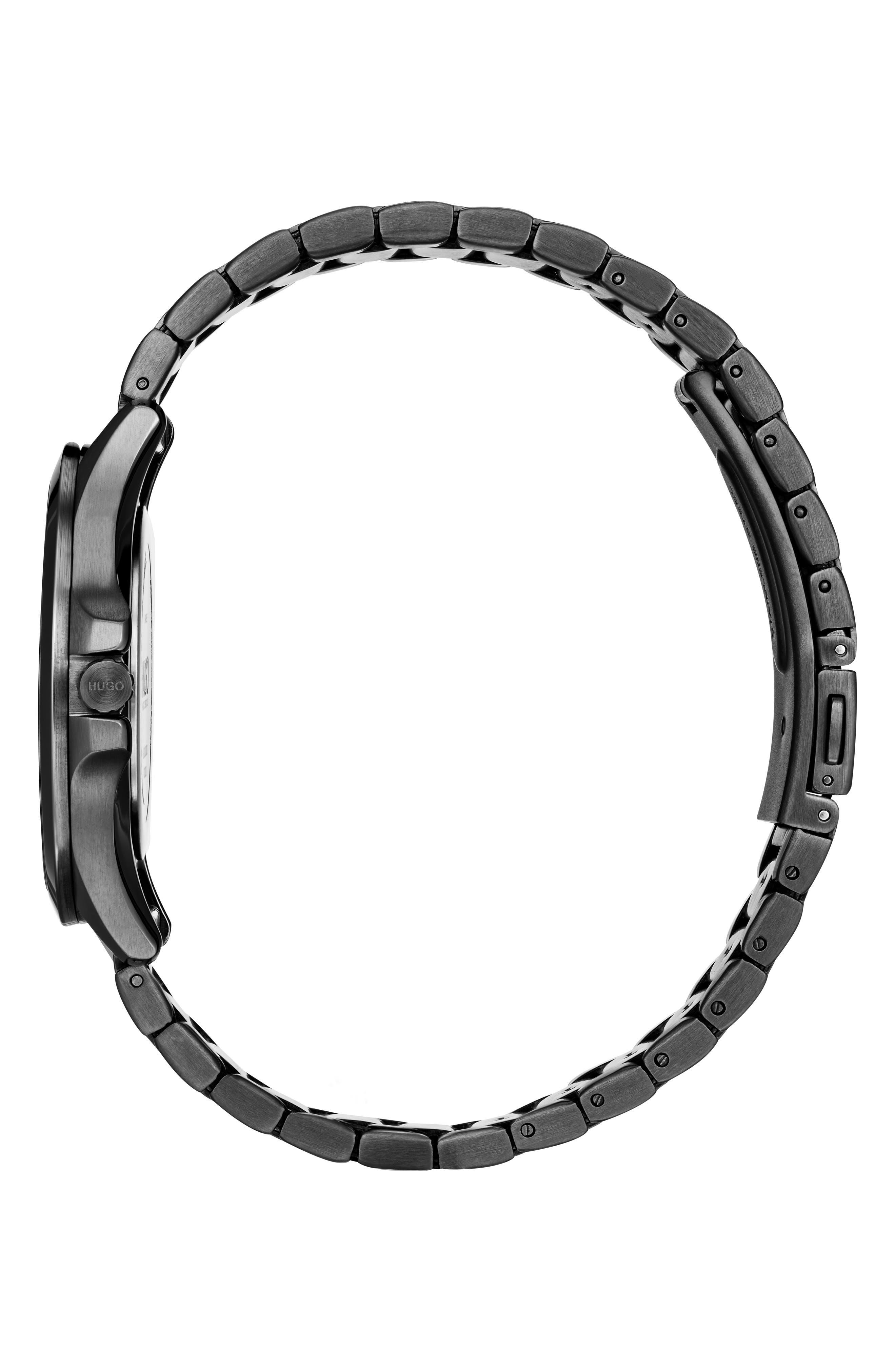 Bracelet Watch, 41mm,                             Alternate thumbnail 3, color,                             BLACK