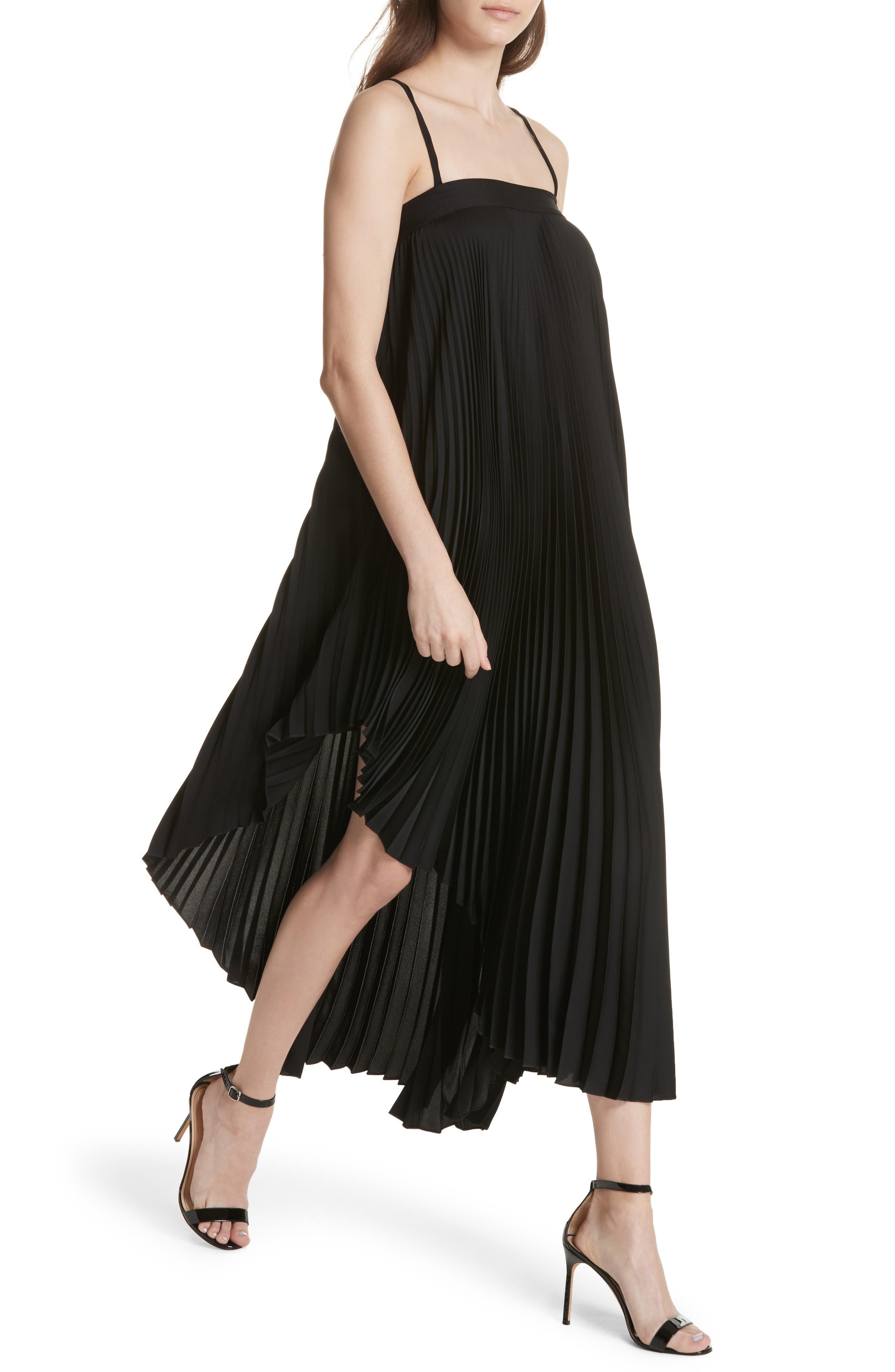 Irene Asymmetrical Pleated Silk Maxi Dress,                             Alternate thumbnail 4, color,                             001
