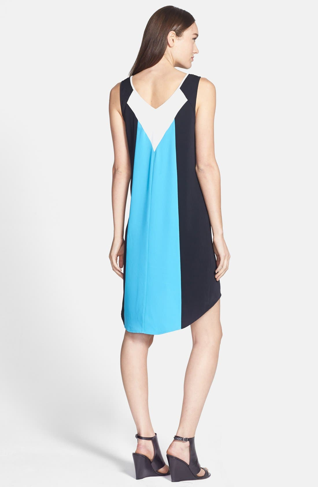TROUVÉ,                             Colorblock High/Low Shift Dress,                             Alternate thumbnail 3, color,                             420
