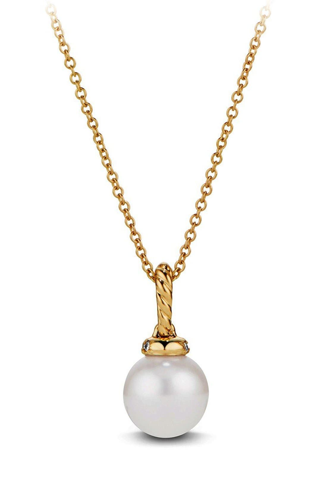 'Solari' Pendant Necklace with Pearls and Diamonds in 18K Gold,                             Alternate thumbnail 4, color,                             PEARL