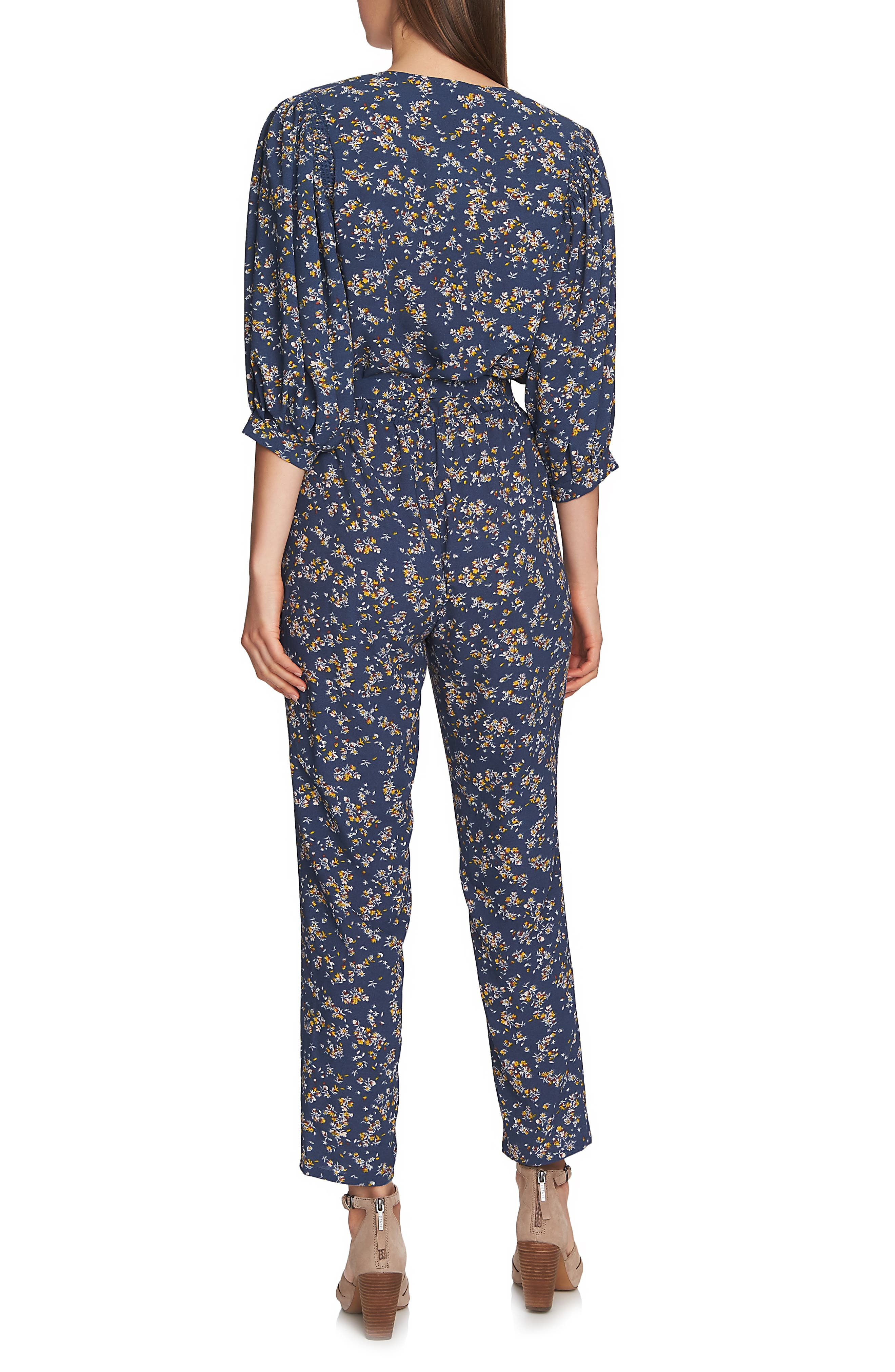 Heritage Bouquet Wrap Tie Waist Pants,                             Alternate thumbnail 2, color,                             ANTIQUE BLUE