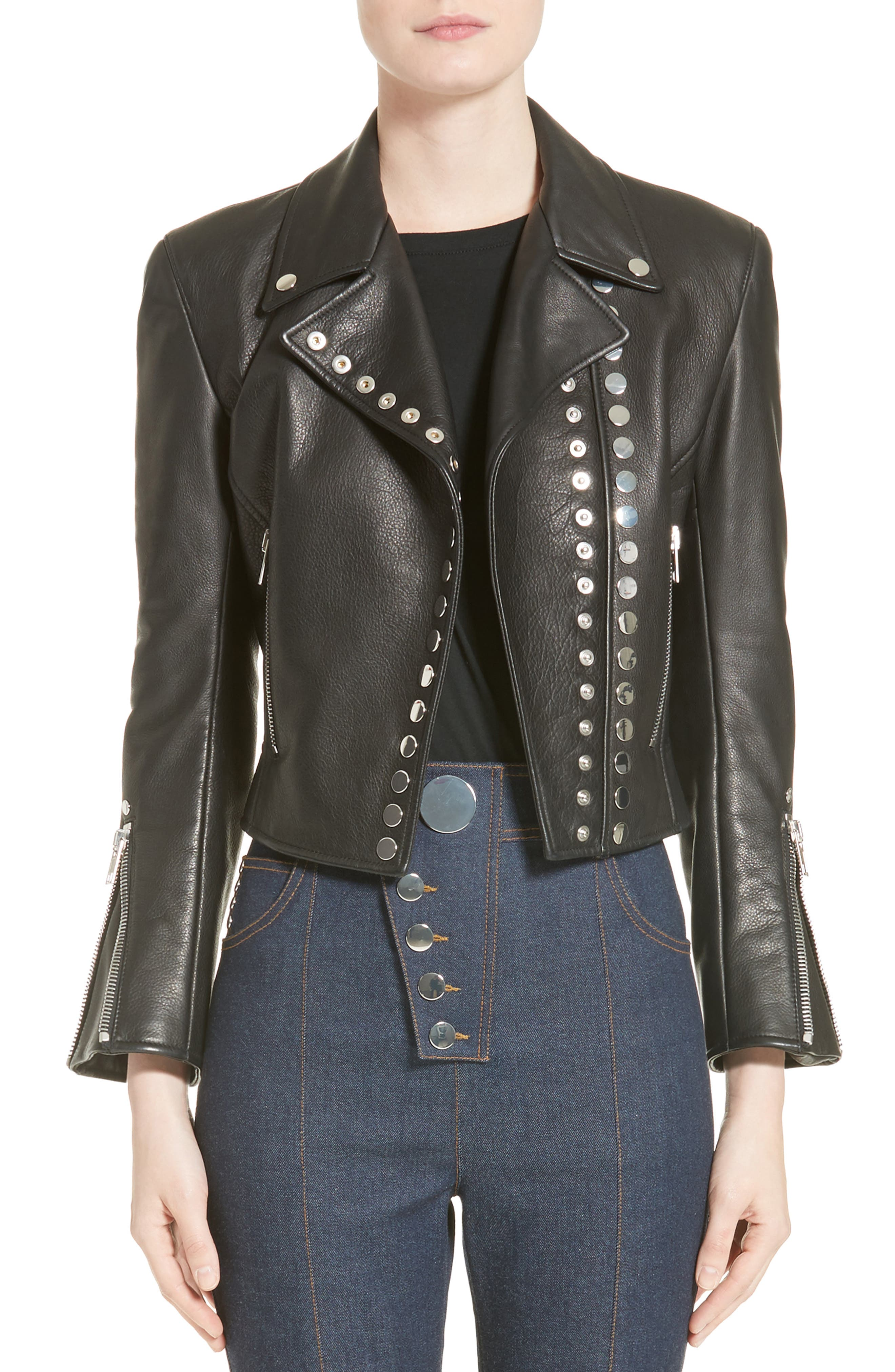 Snap Leather Moto Jacket,                         Main,                         color, 001