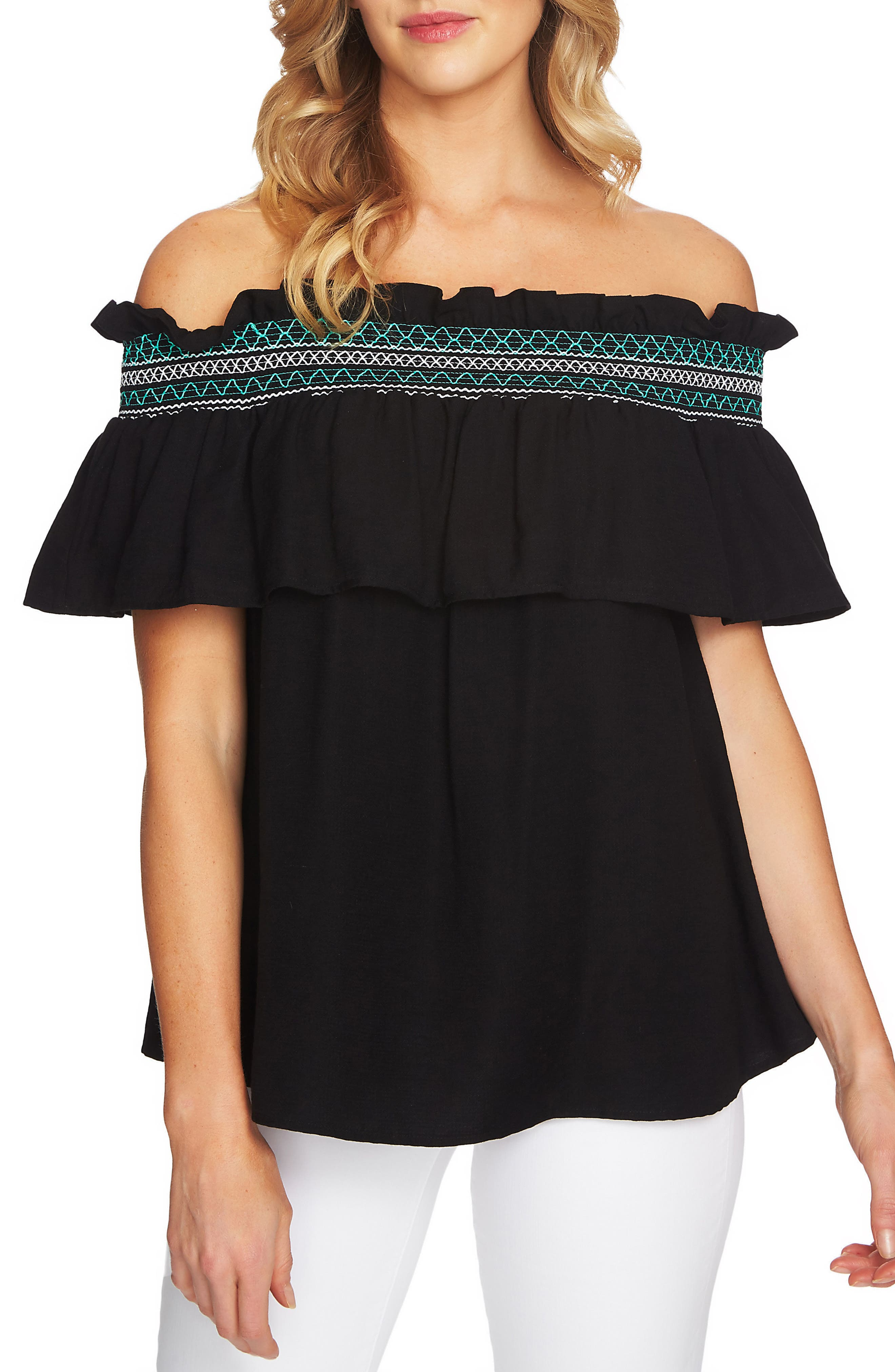 Off The Shoulder Ruffle Knit Top,                         Main,                         color, 006