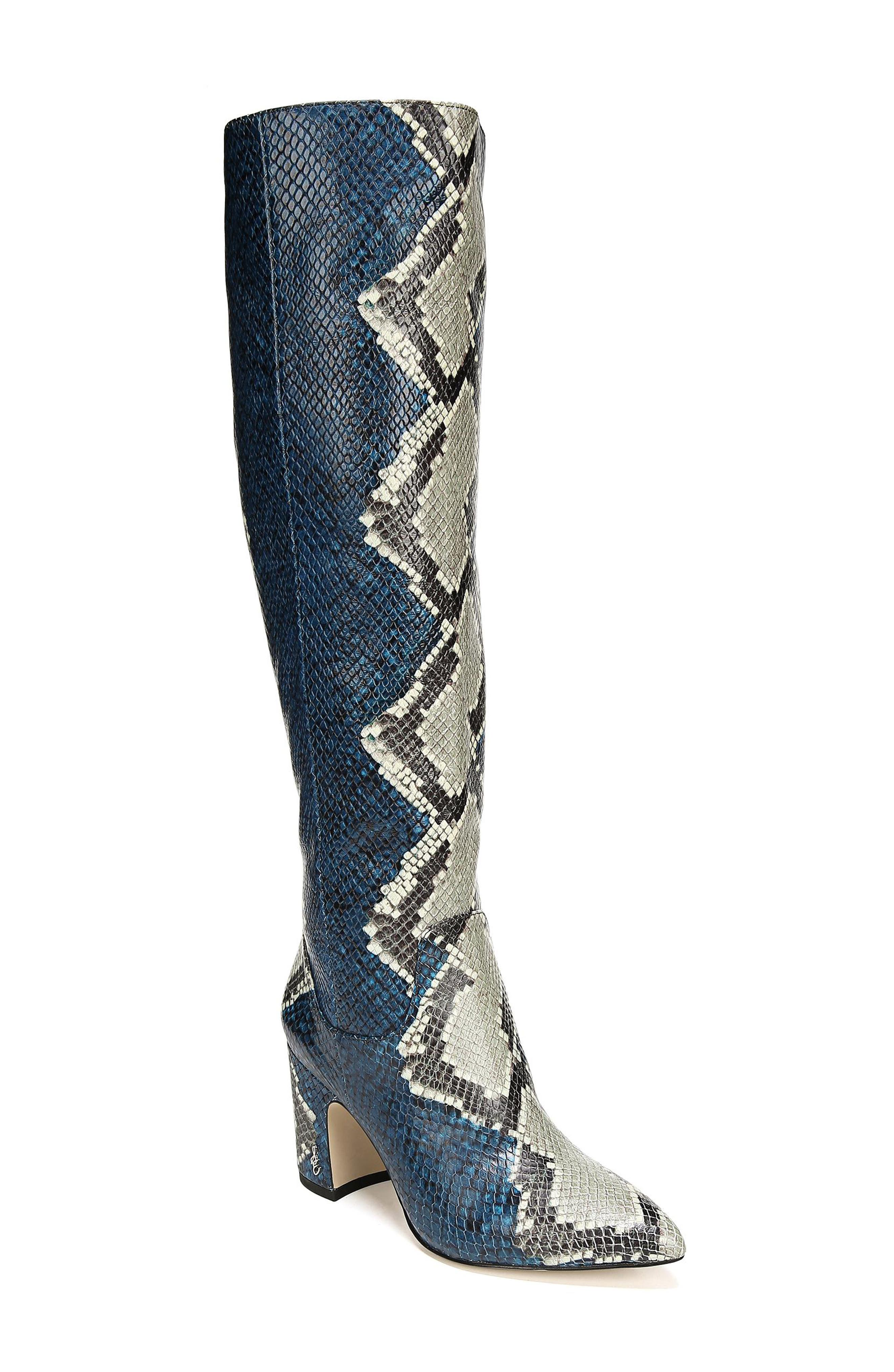 Hai Knee High Boot,                             Main thumbnail 1, color,                             PEACOCK EMBOSSED LEATHER