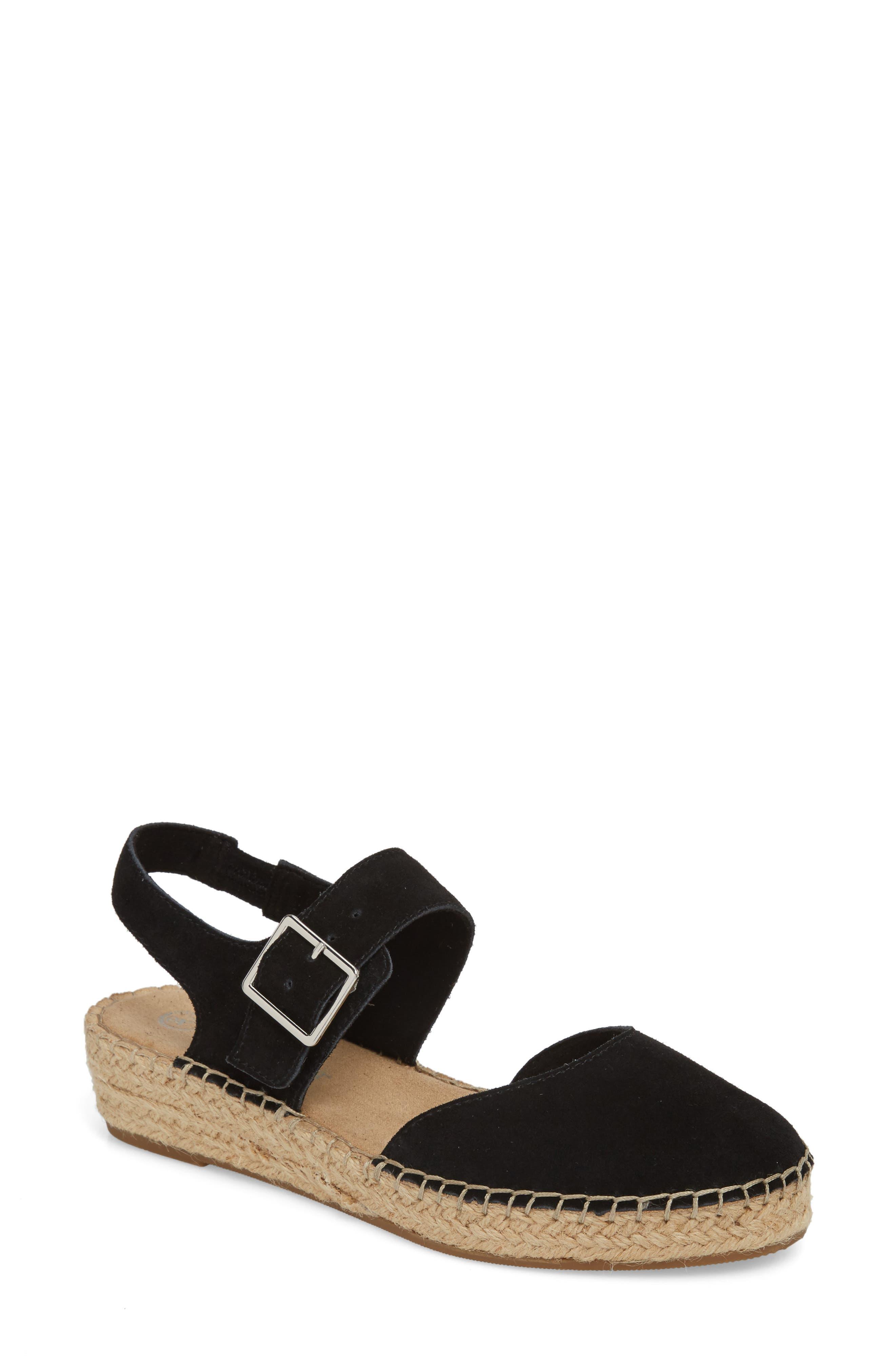 Caralynn Espadrille Sandal,                         Main,                         color, BLACK SUEDE