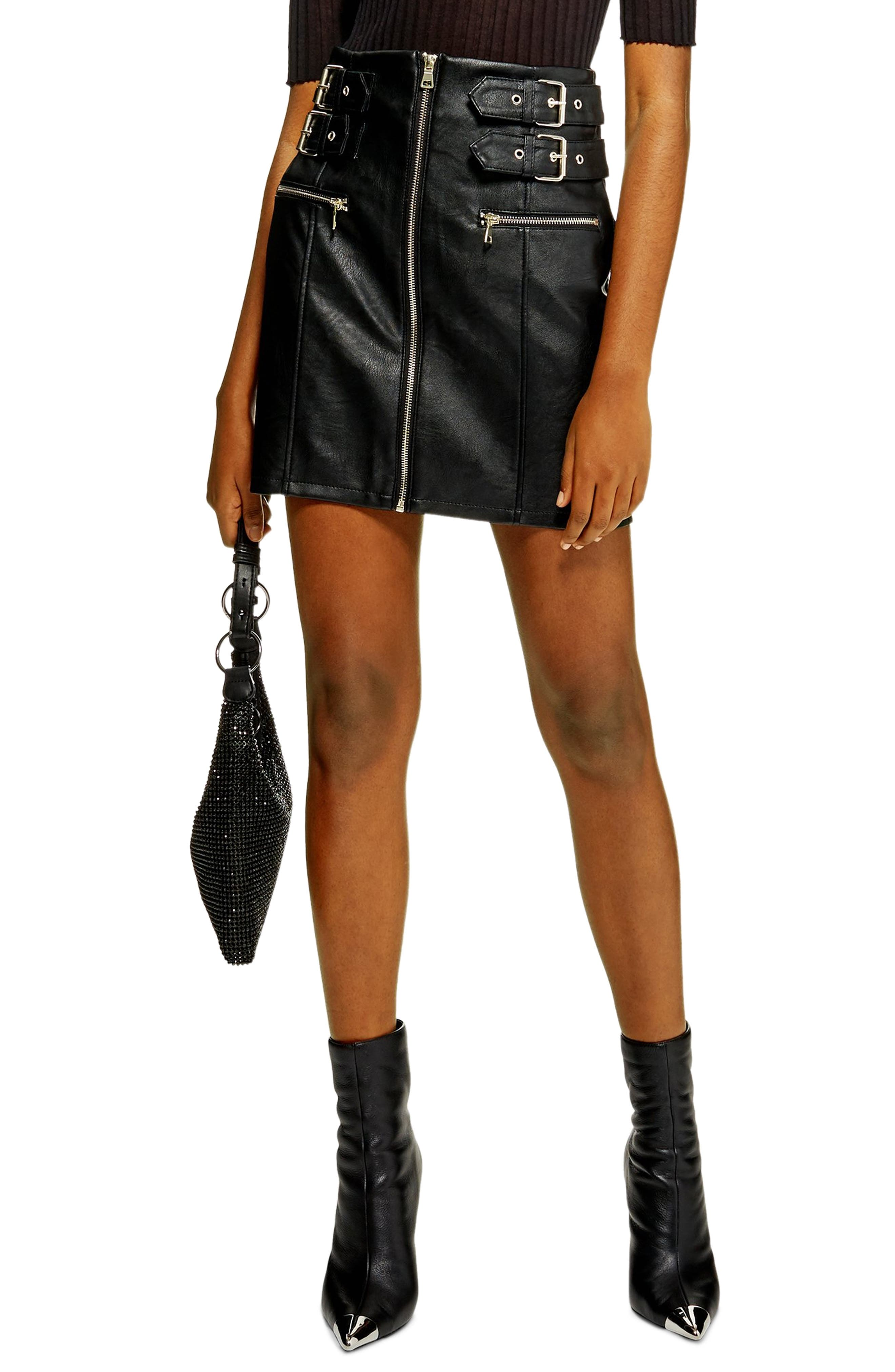 Topshop Faux Leather Zip Miniskirt, US (fits like 6-8) - Black