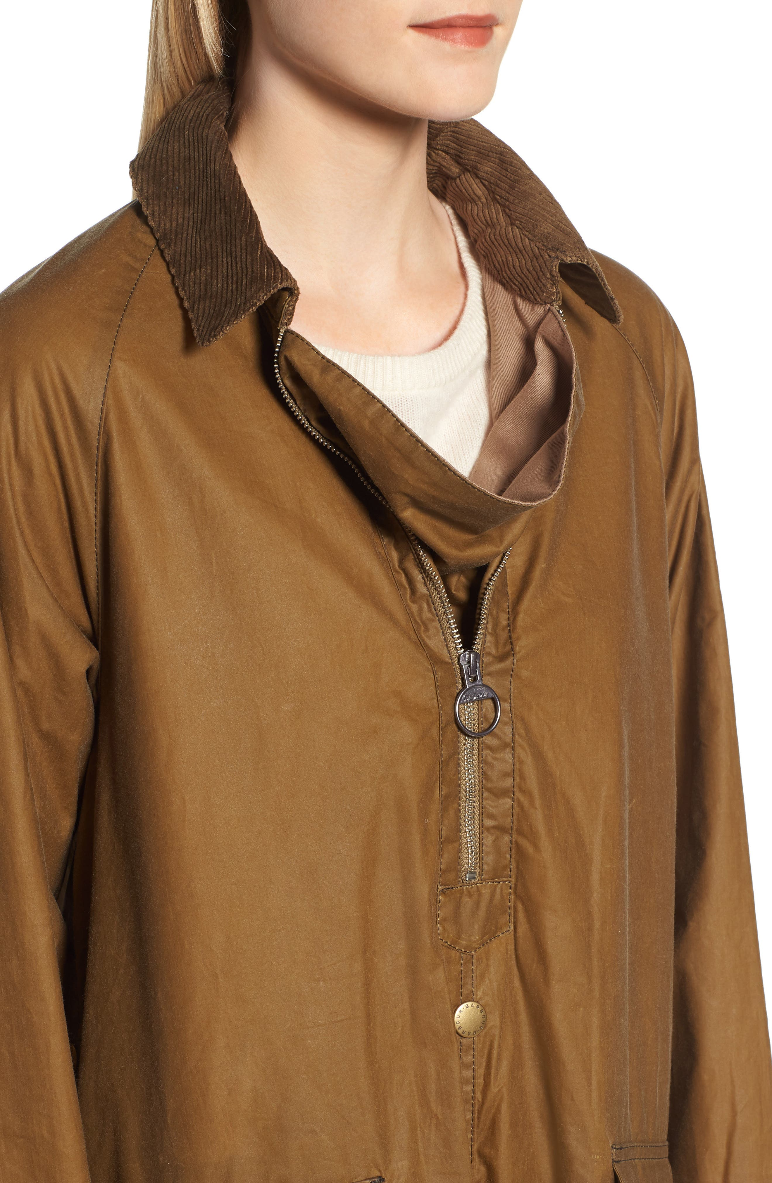 Margaret Howell Water Resistant Waxed Cotton Poncho,                             Alternate thumbnail 4, color,                             SAND