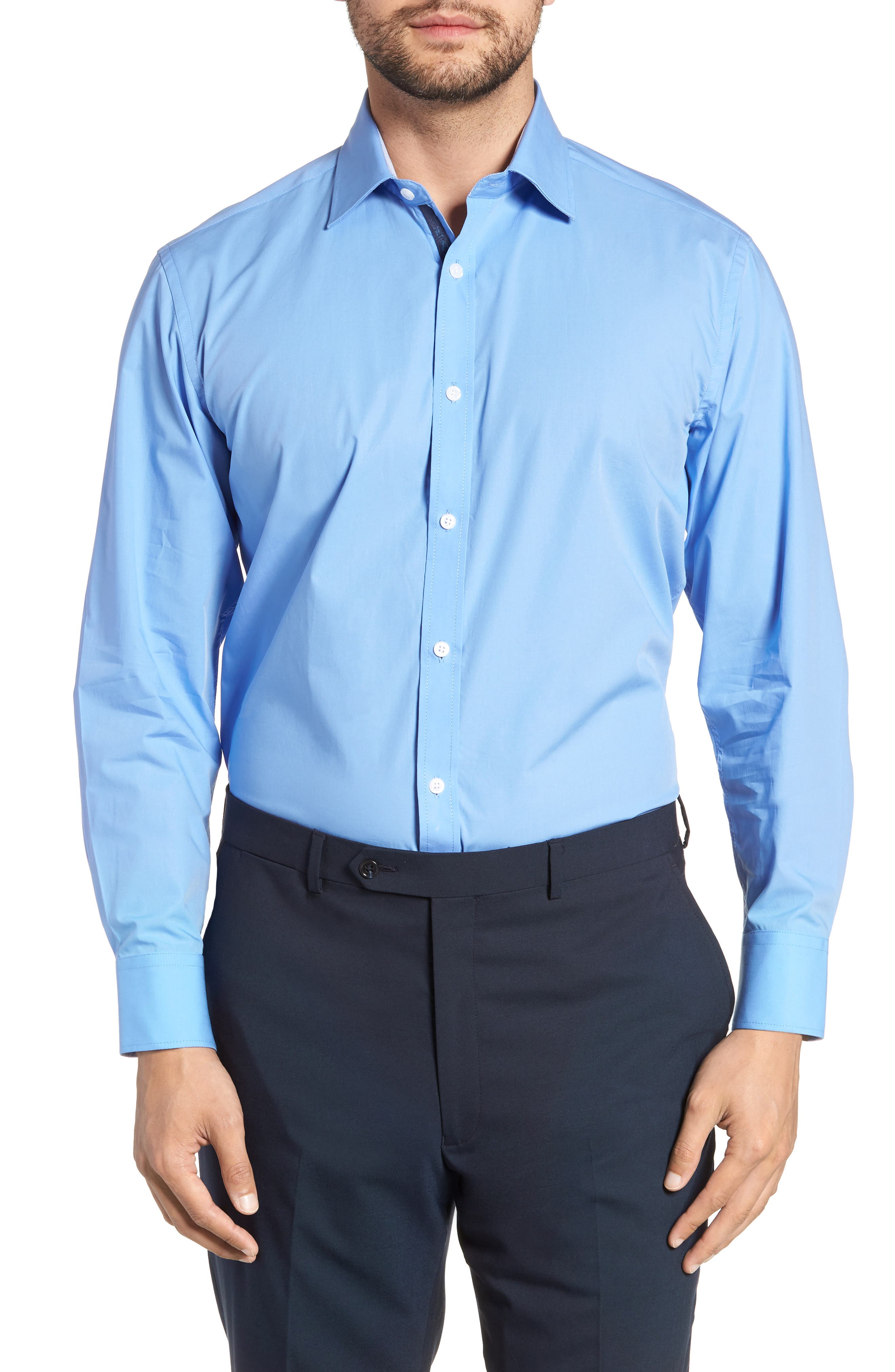 Regular Fit Stretch Solid Dress Shirt,                             Main thumbnail 1, color,                             BLUE