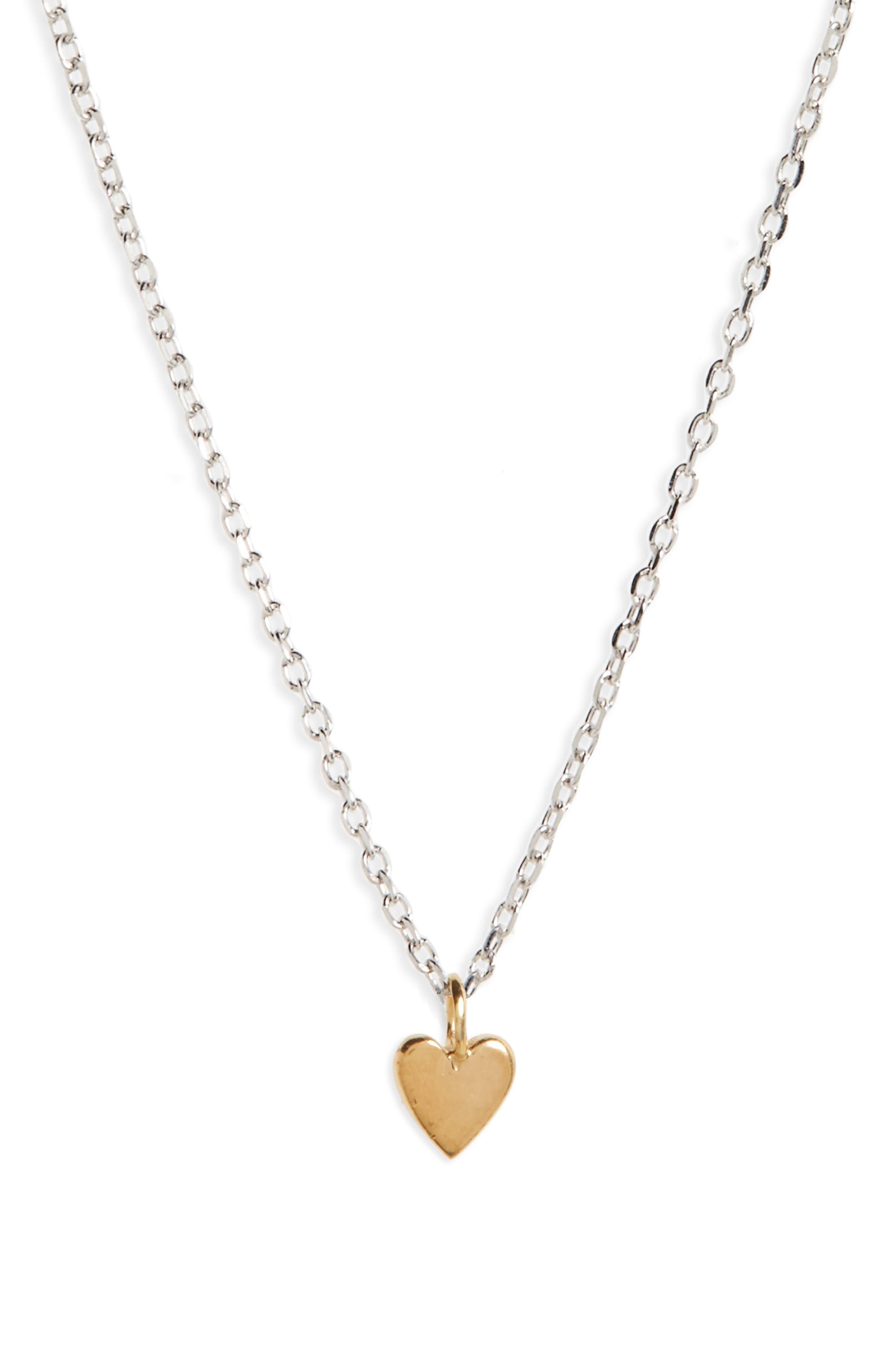 Vermeil Pendant Necklace,                         Main,                         color, HEART/ GOLD