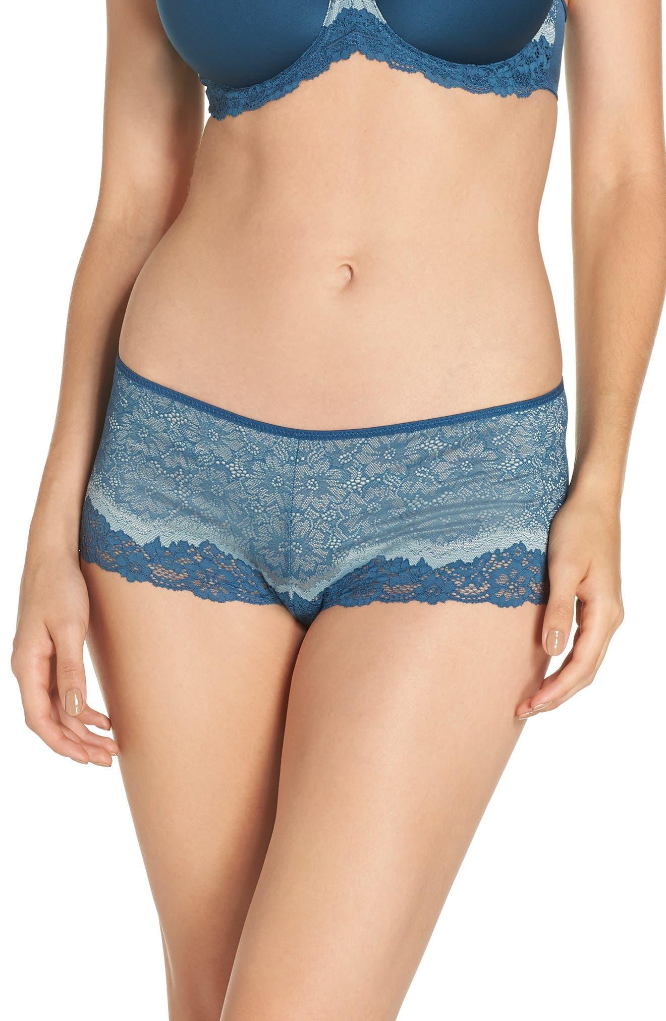 Lace Boyshorts,                         Main,                         color, MAJOLICA BLUE/ SLATE