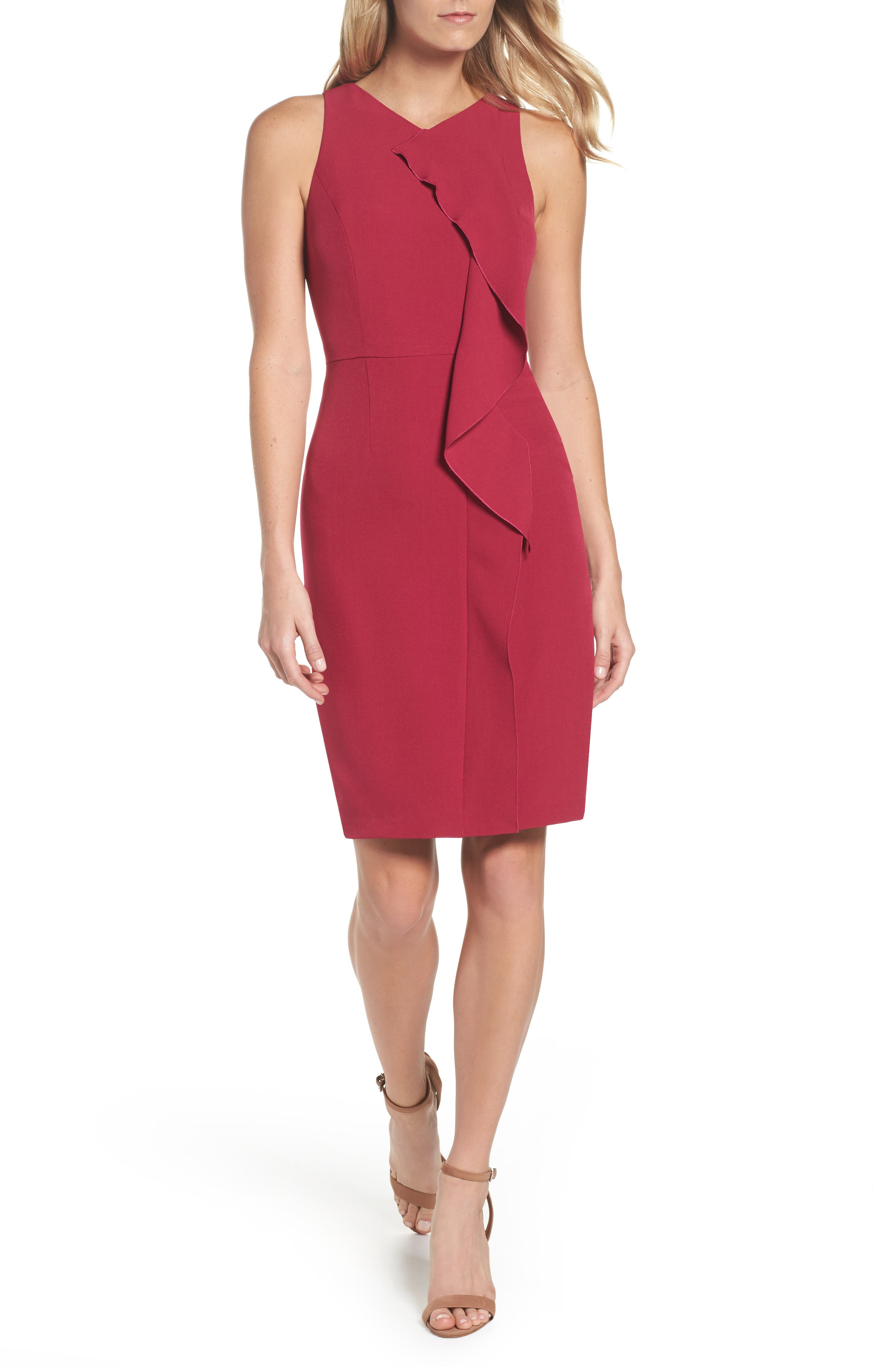 Stretch Crepe V-Neck Sheath,                         Main,                         color, 652