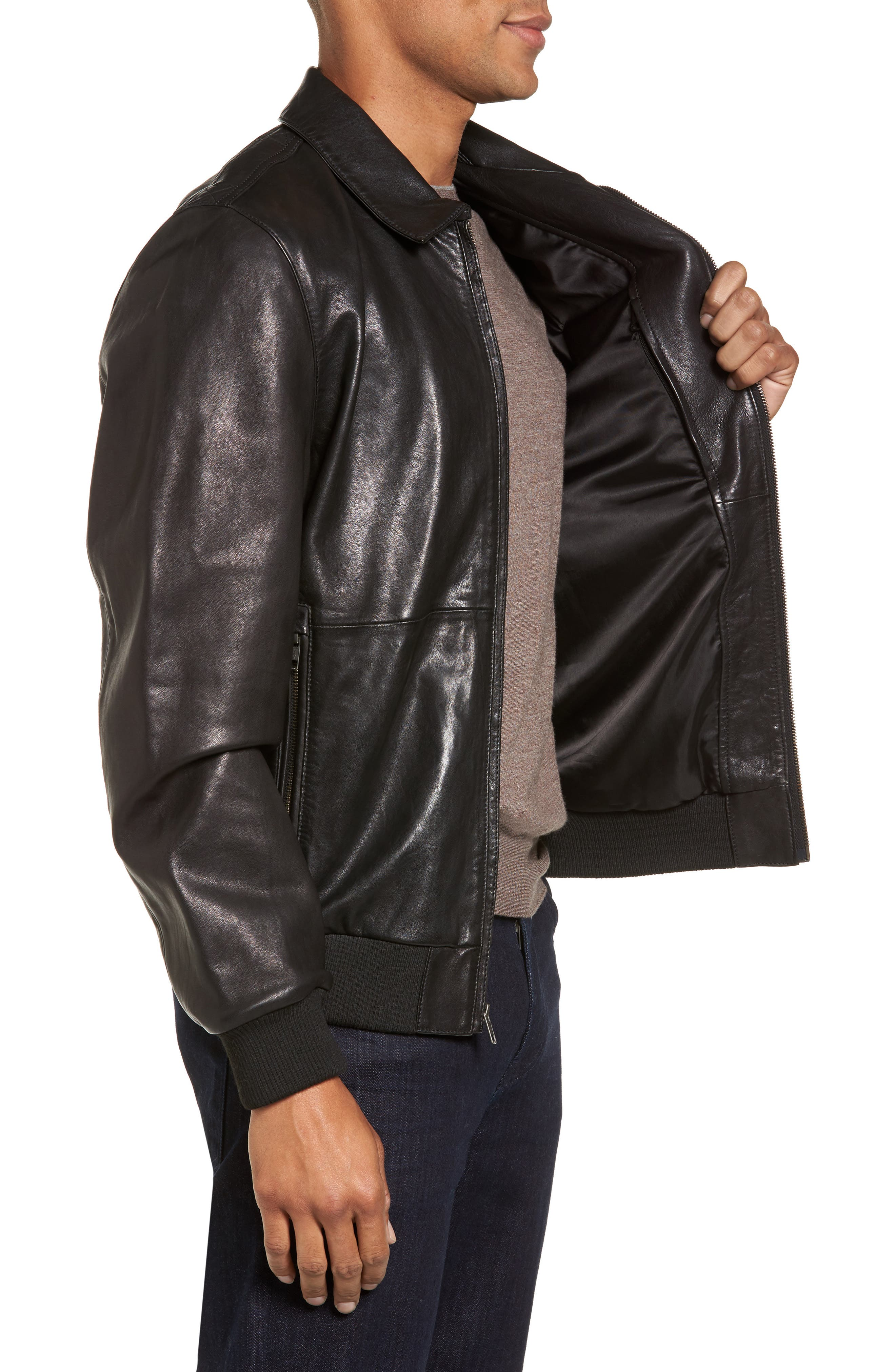 Leather Bomber Jacket,                             Alternate thumbnail 3, color,                             001