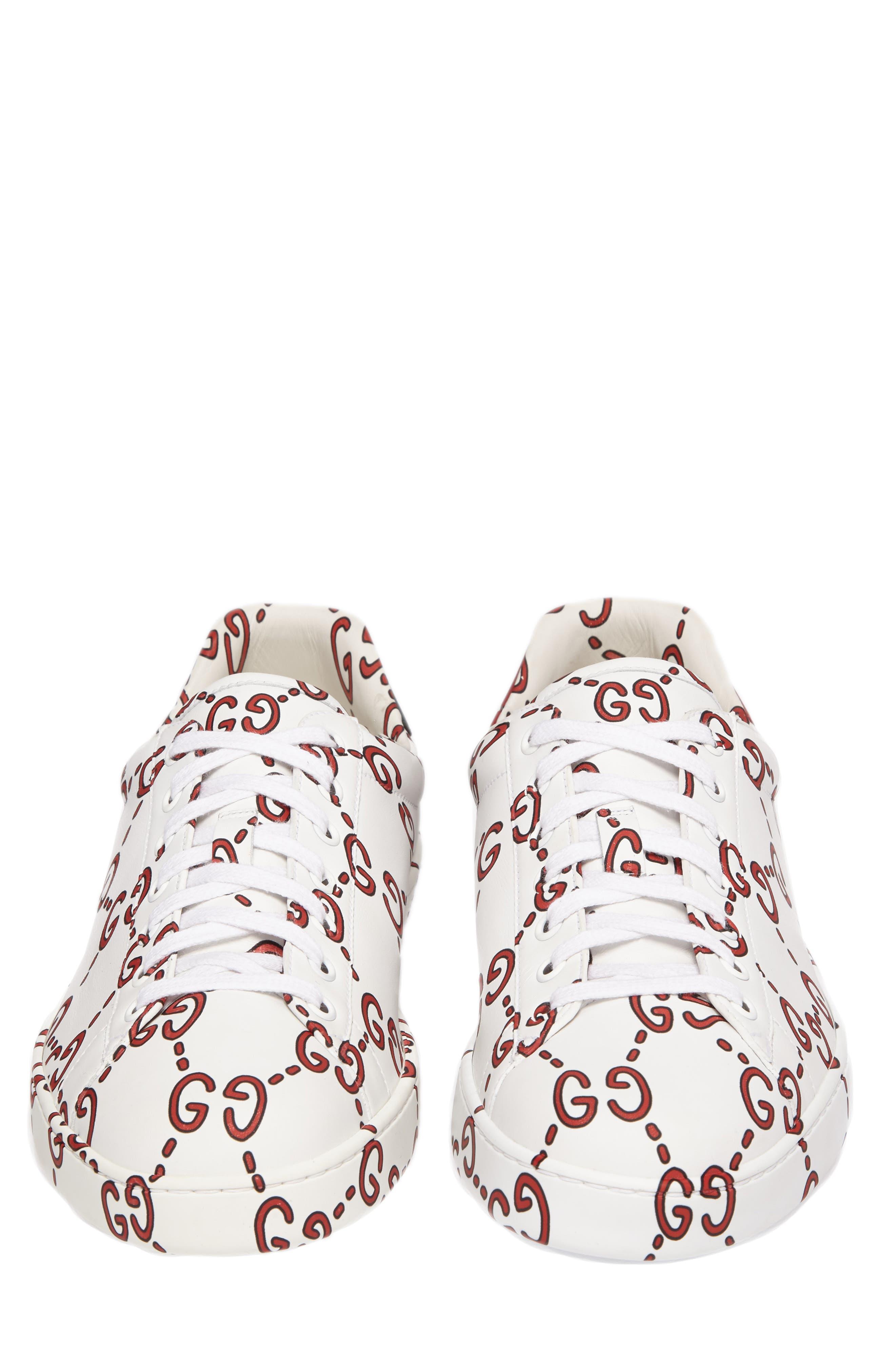 New Ace GG Print Sneaker,                             Alternate thumbnail 4, color,                             WHITE