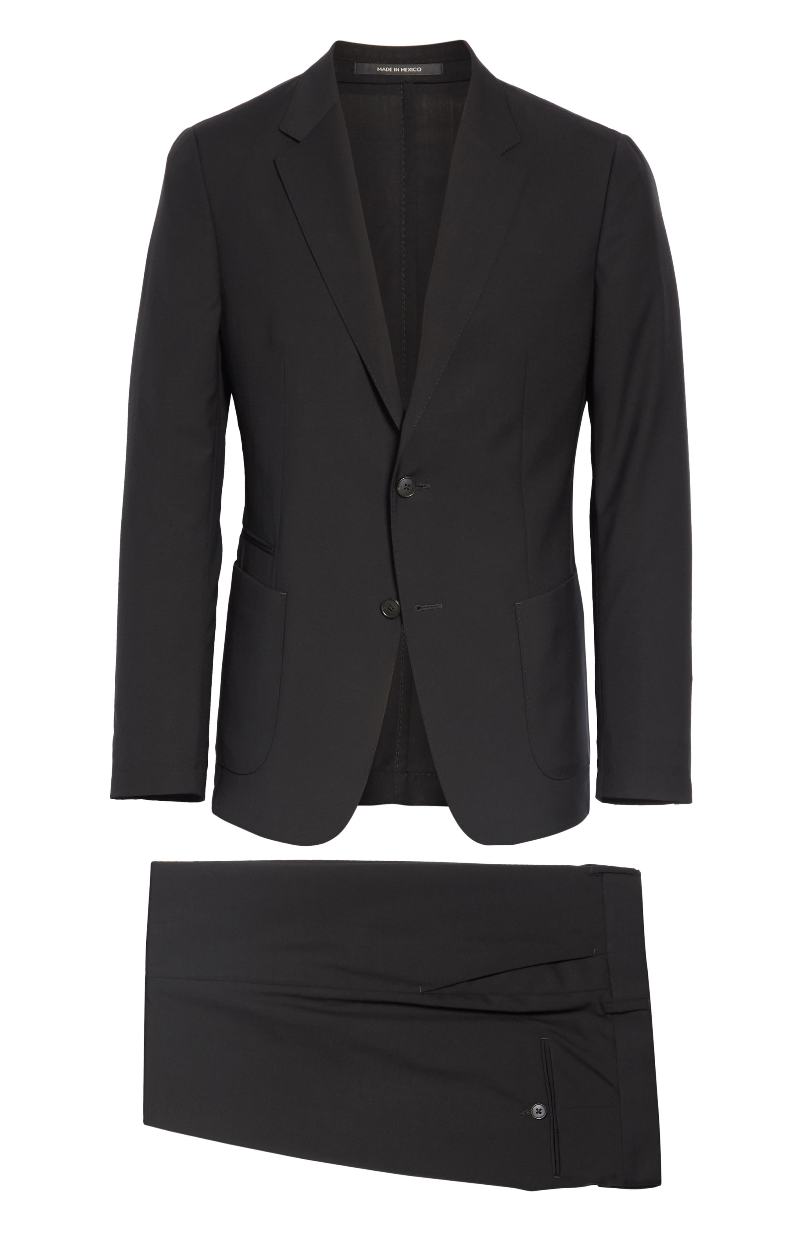 Wash and Go Trim Fit Solid Wool Suit,                             Alternate thumbnail 7, color,                             BLACK
