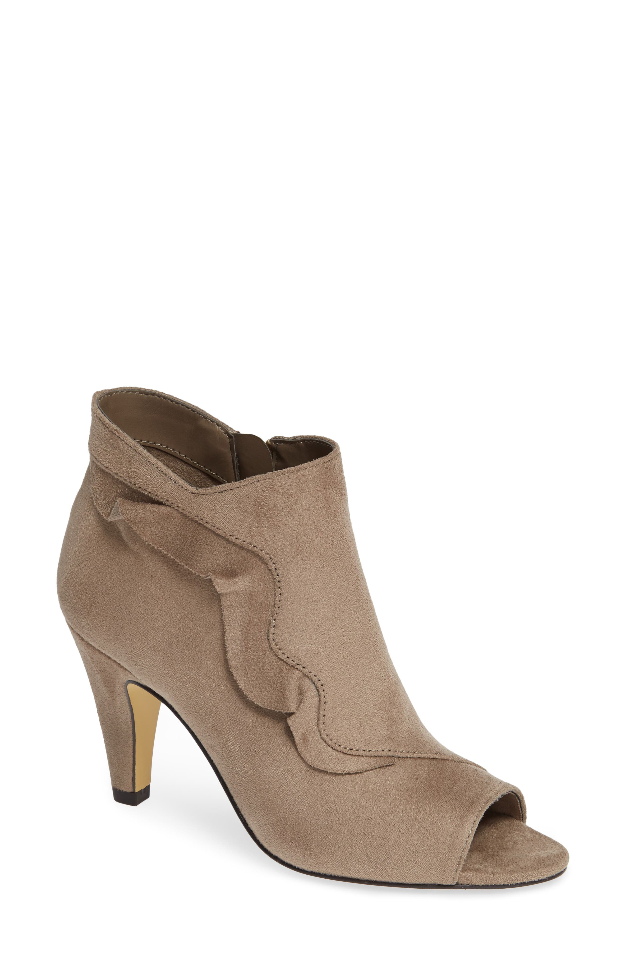 Nicolette Ruffle Dress Bootie,                         Main,                         color, STONE SUEDE