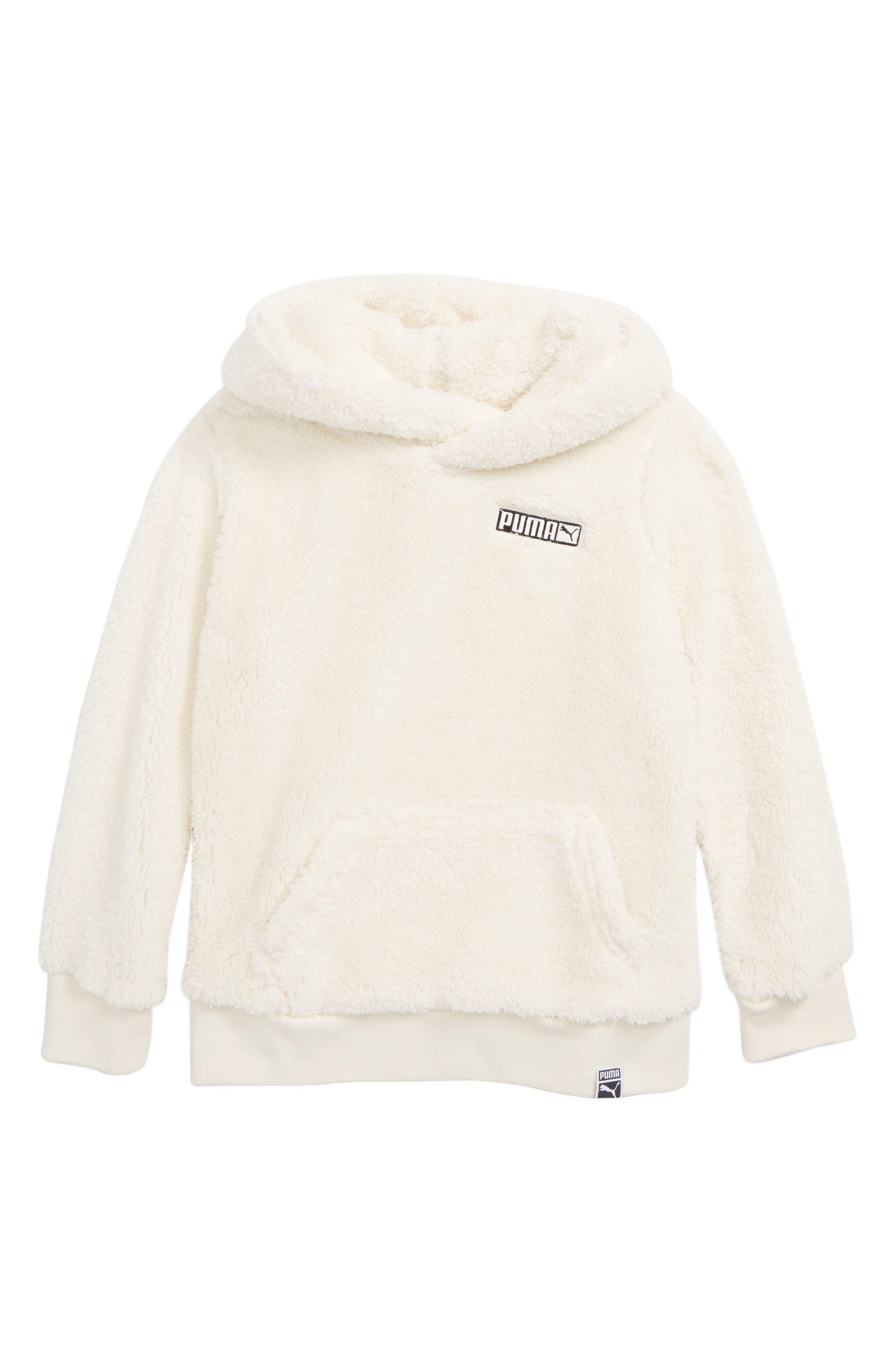 Fleece Hooded Pullover,                         Main,                         color, WHISPER WHITE
