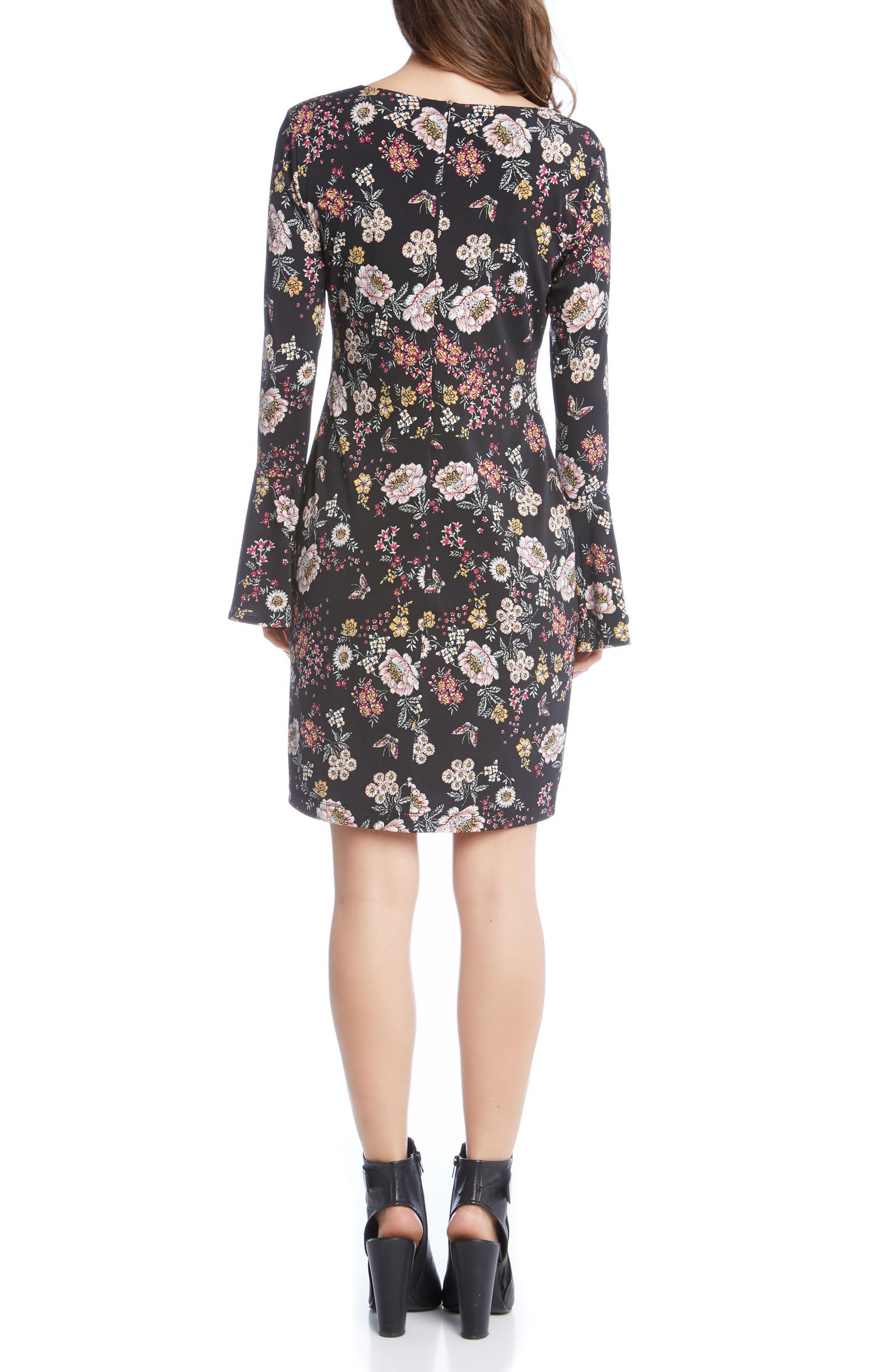 Floral V-Neck Bell Sleeve Dress,                             Alternate thumbnail 2, color,                             003