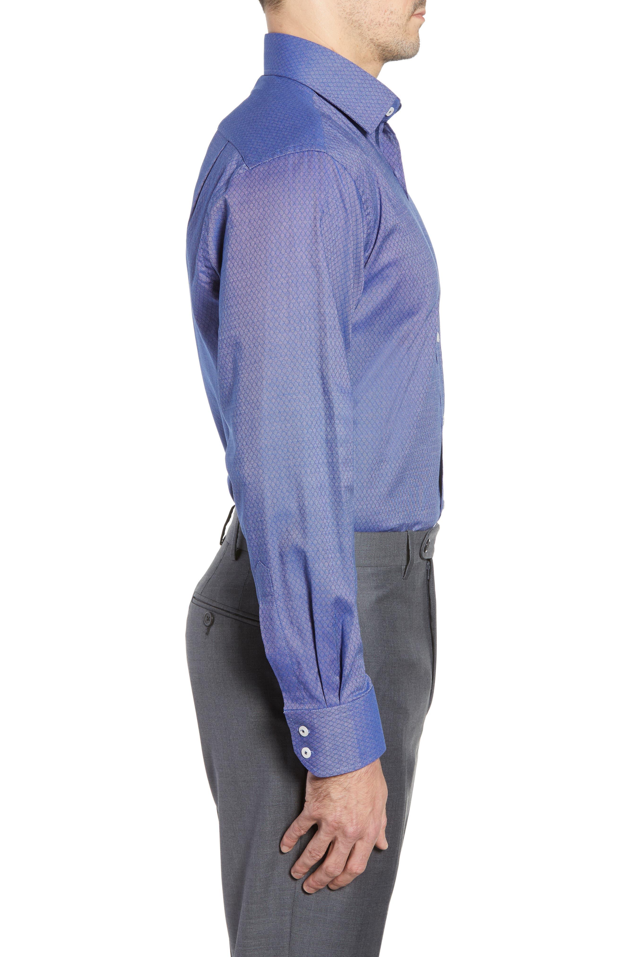Pattern Regular Fit Dress Shirt,                             Alternate thumbnail 4, color,                             NAVY