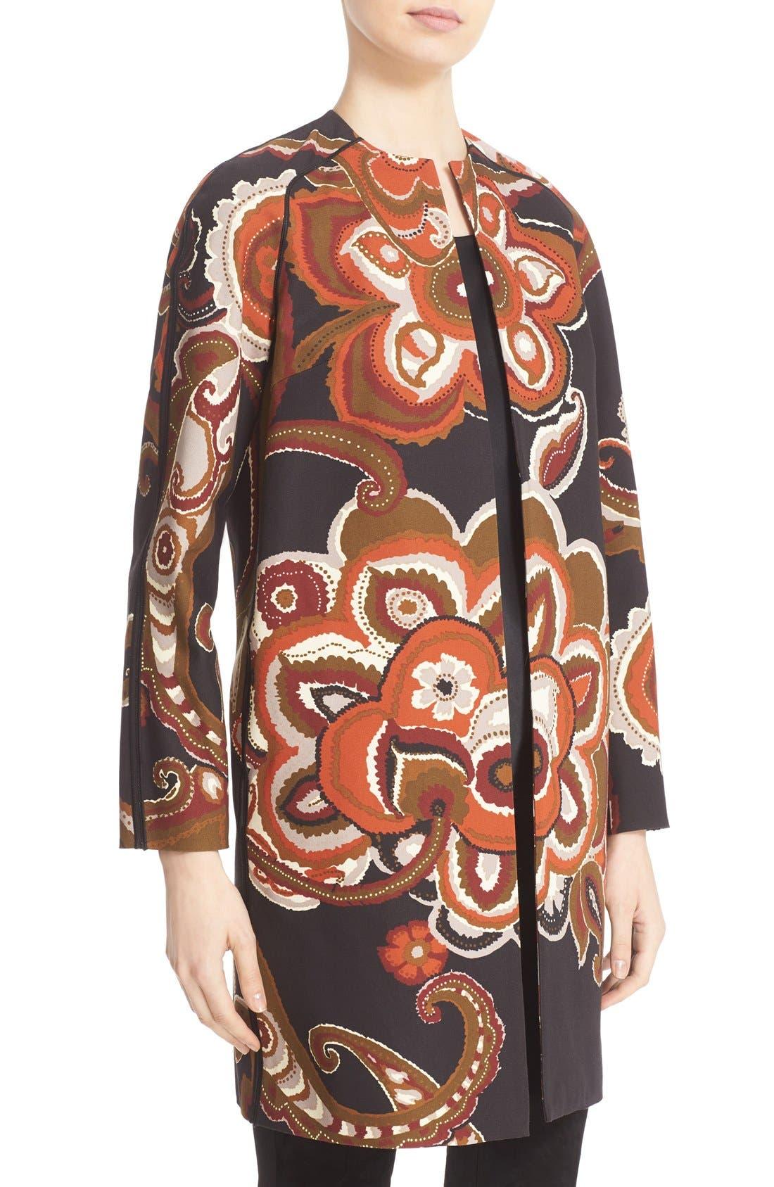 'Makeda' Paisley Print Faille Jacket,                             Alternate thumbnail 3, color,                             001